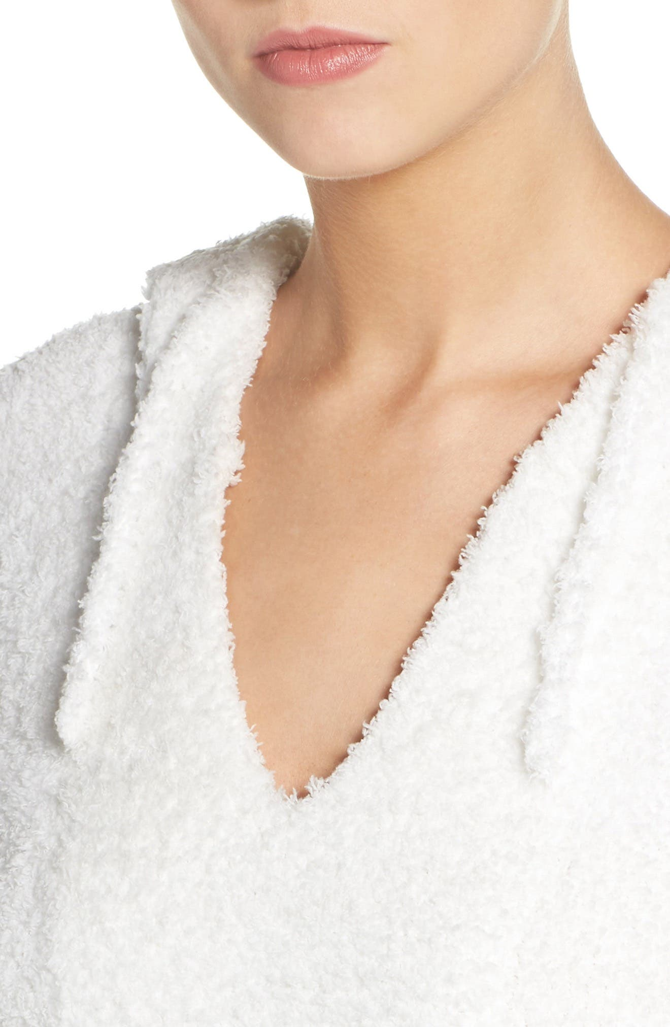 BAREFOOT DREAMS<SUP>®</SUP>,                             Barefoot Dreams Cozychic<sup>®</sup> Baha Lounge Hoodie,                             Alternate thumbnail 4, color,                             WHITE/ GRAPHITE STRIPE