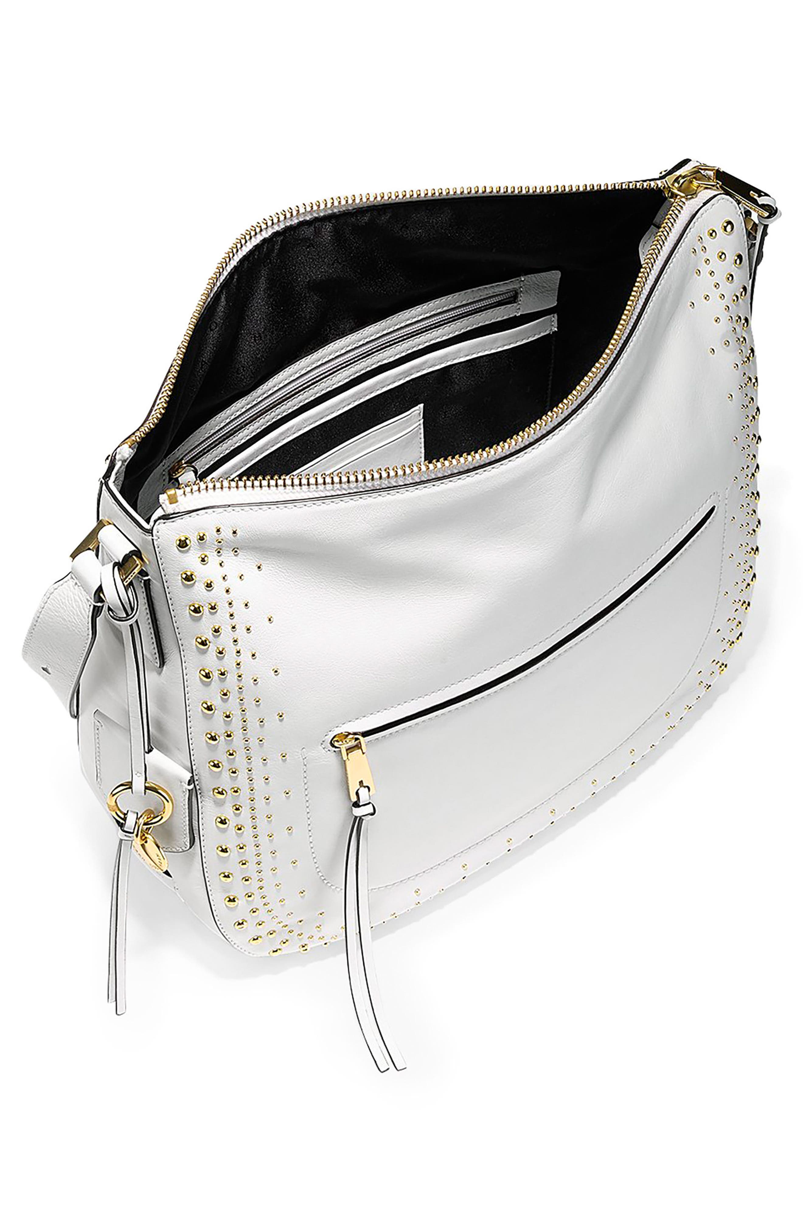 Marli Studded Leather Bucket Hobo,                             Alternate thumbnail 3, color,