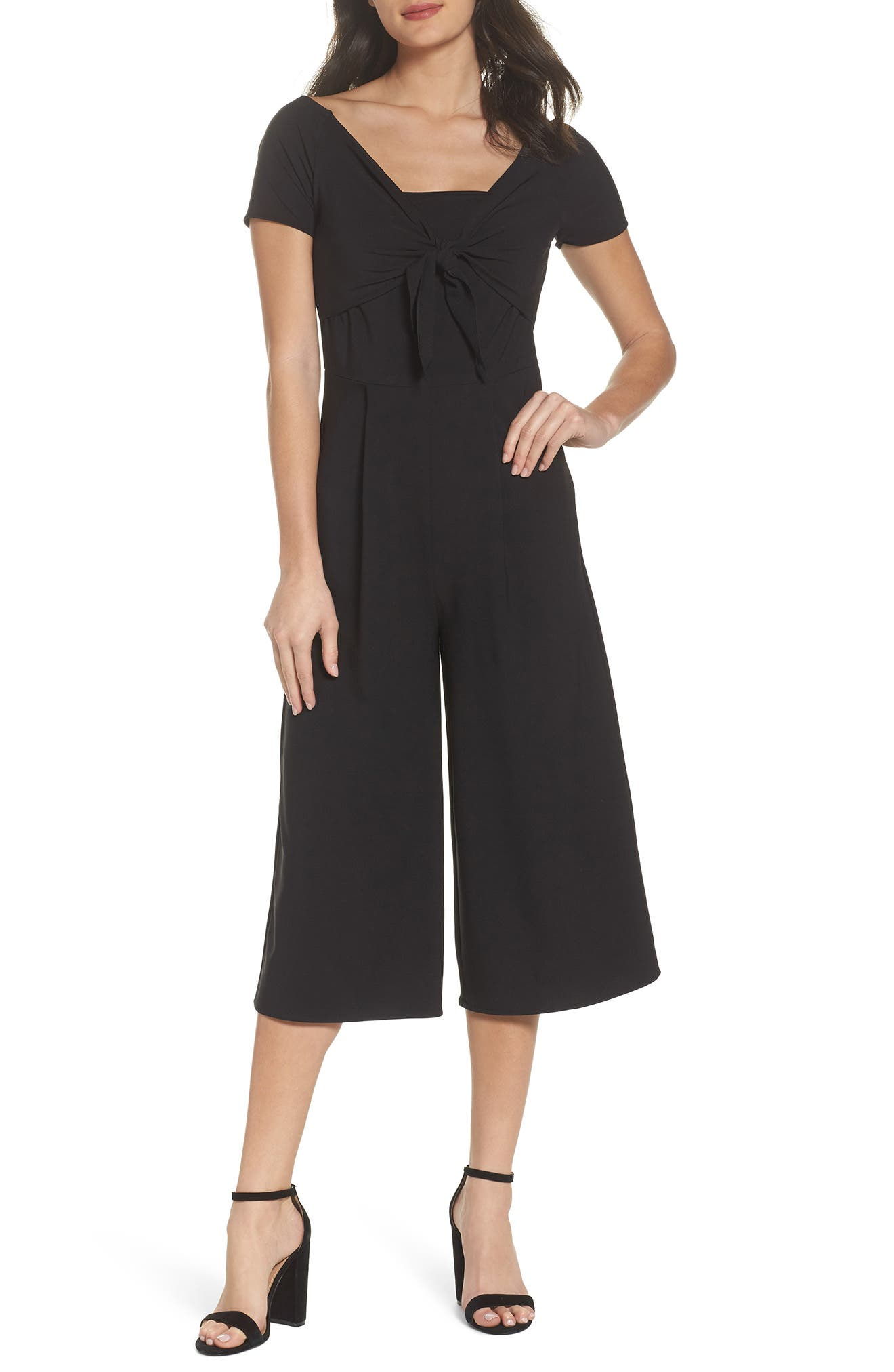 Tie Front Jumpsuit,                         Main,                         color, 001