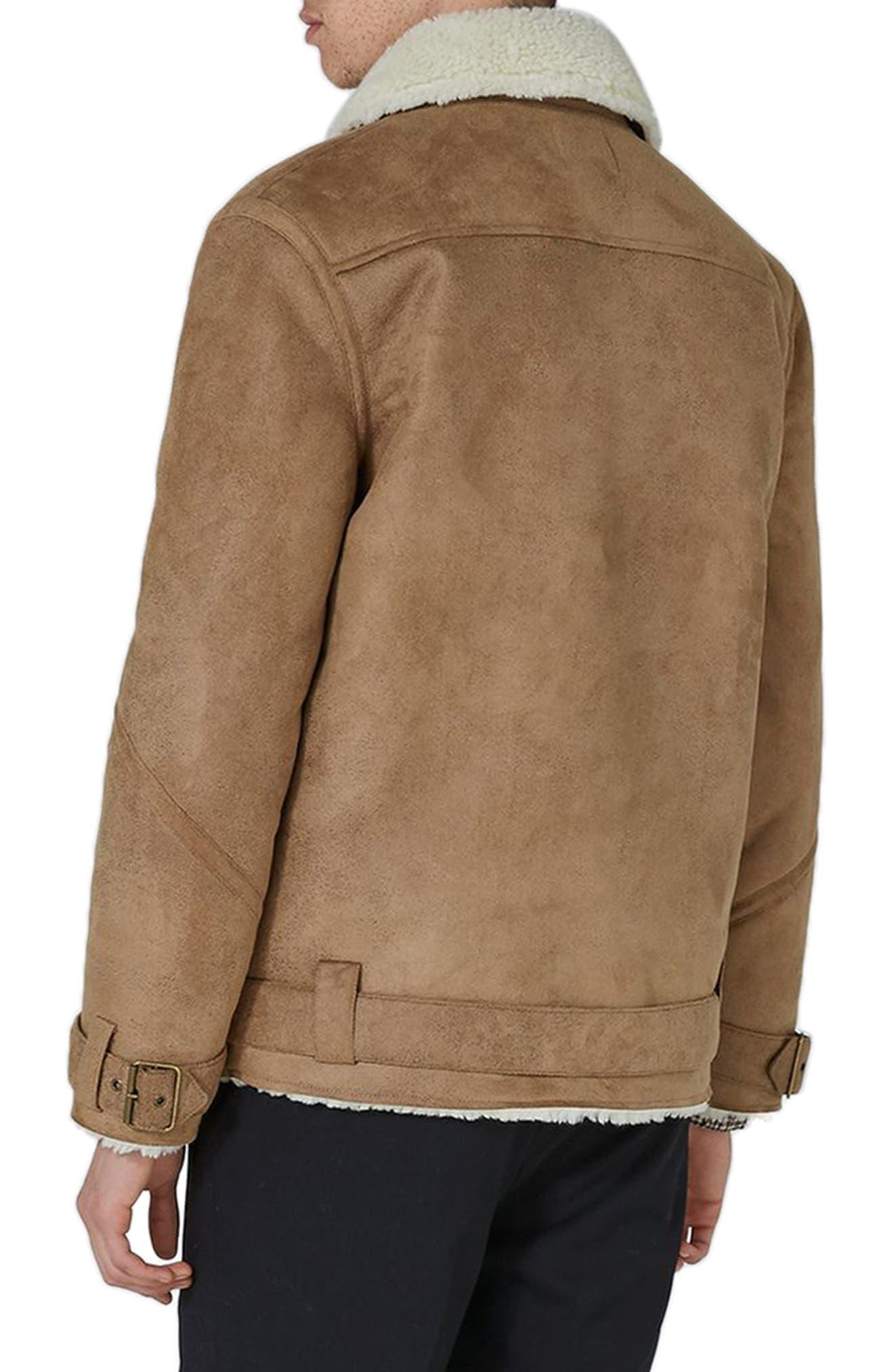 Borg Collar Faux Shearling Jacket,                             Alternate thumbnail 4, color,