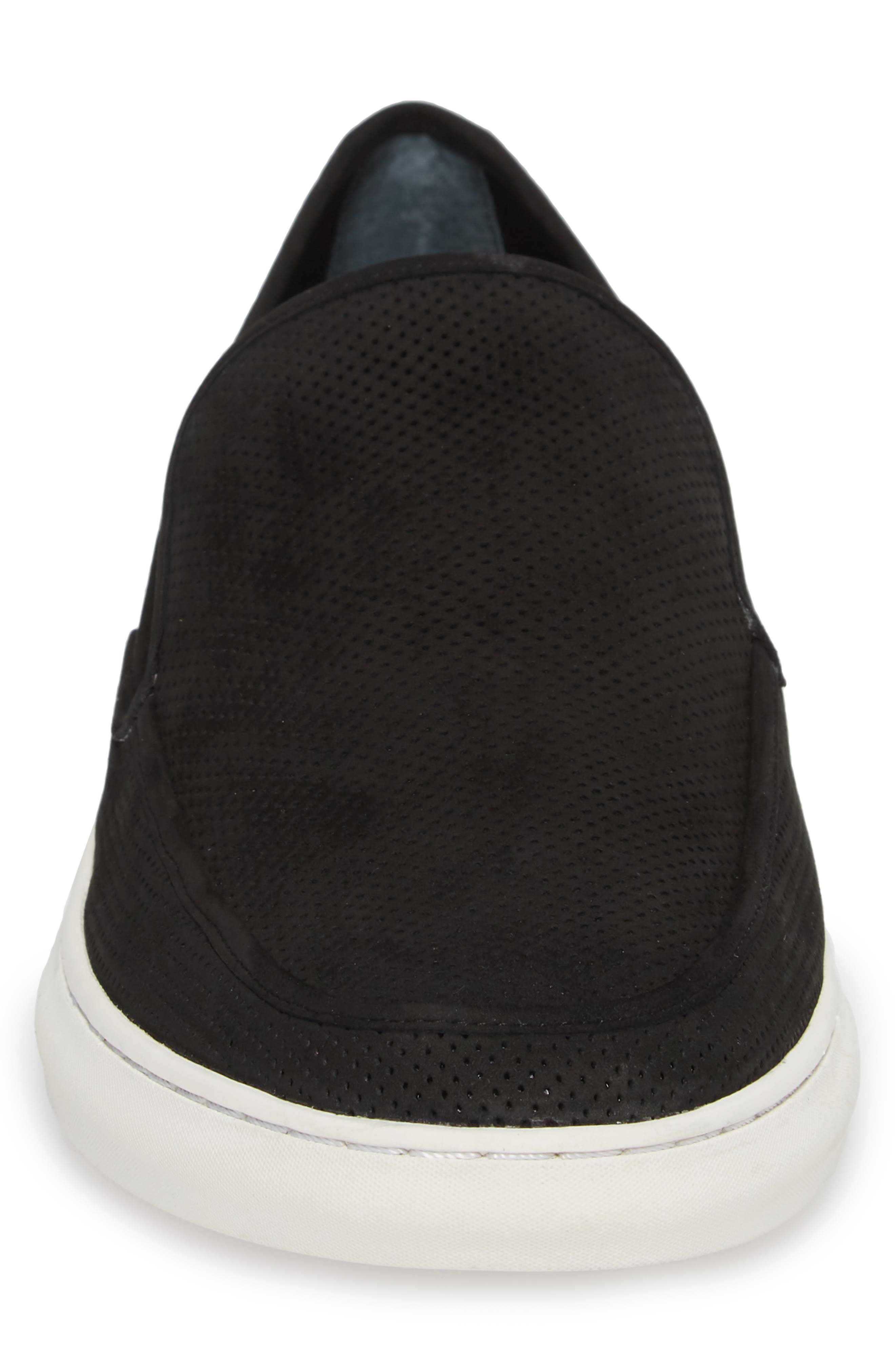 'Venice' Perforated Suede Slip-On,                             Alternate thumbnail 4, color,                             BLACK NUBUCK
