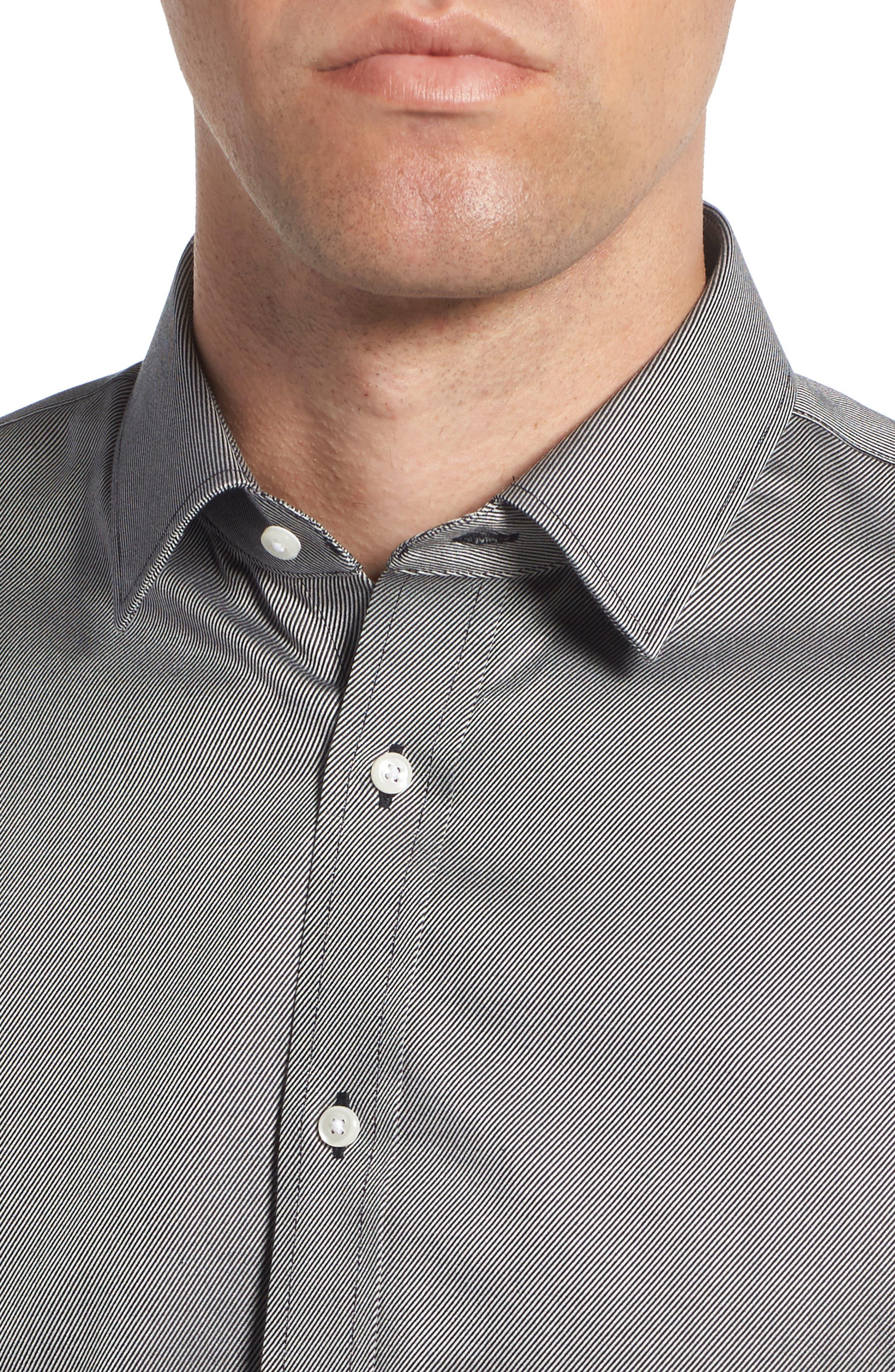 Trim Fit Twill Dress Shirt,                             Alternate thumbnail 2, color,                             001