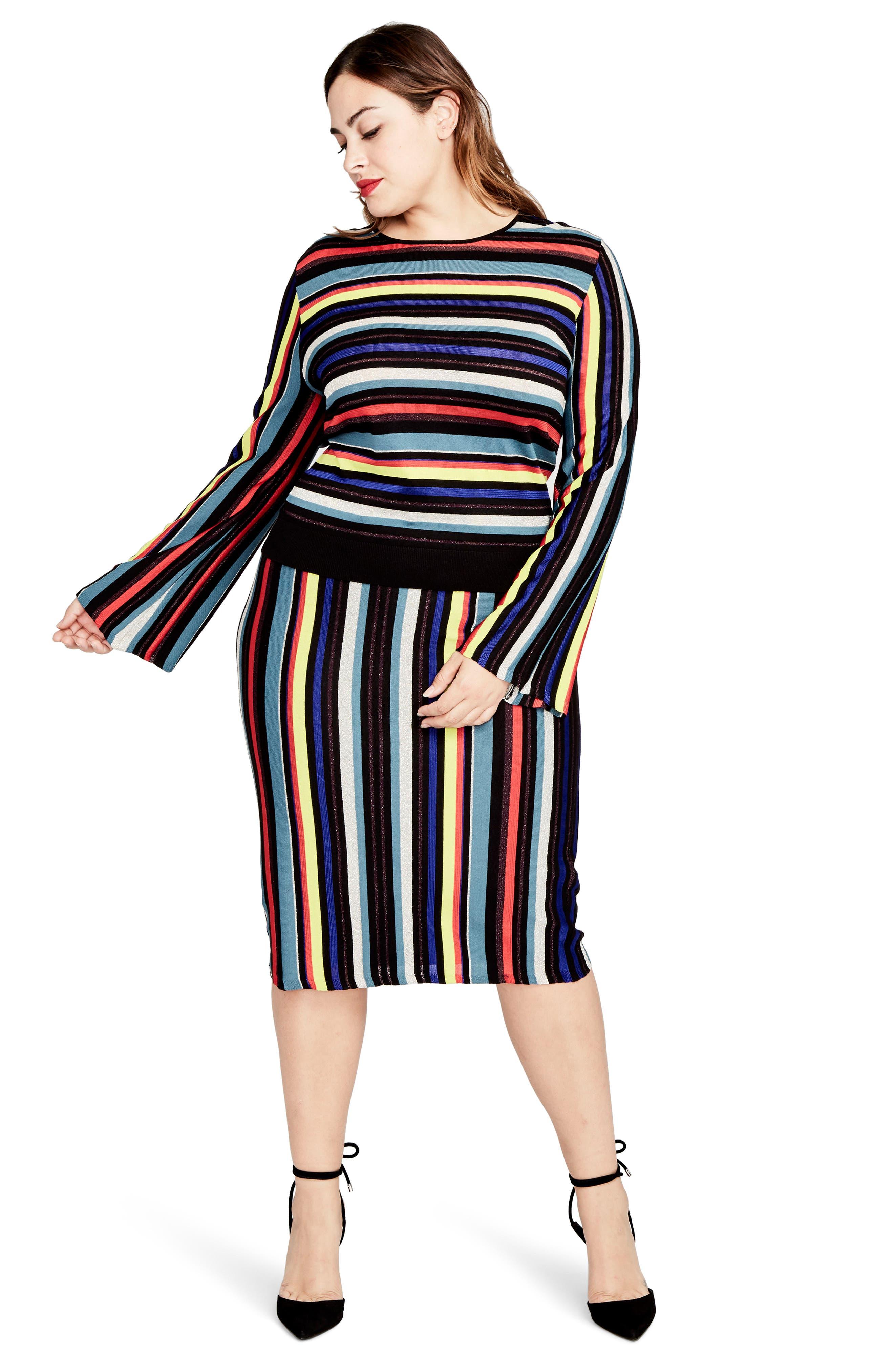 Multistripe Knit Skirt,                             Alternate thumbnail 4, color,                             014