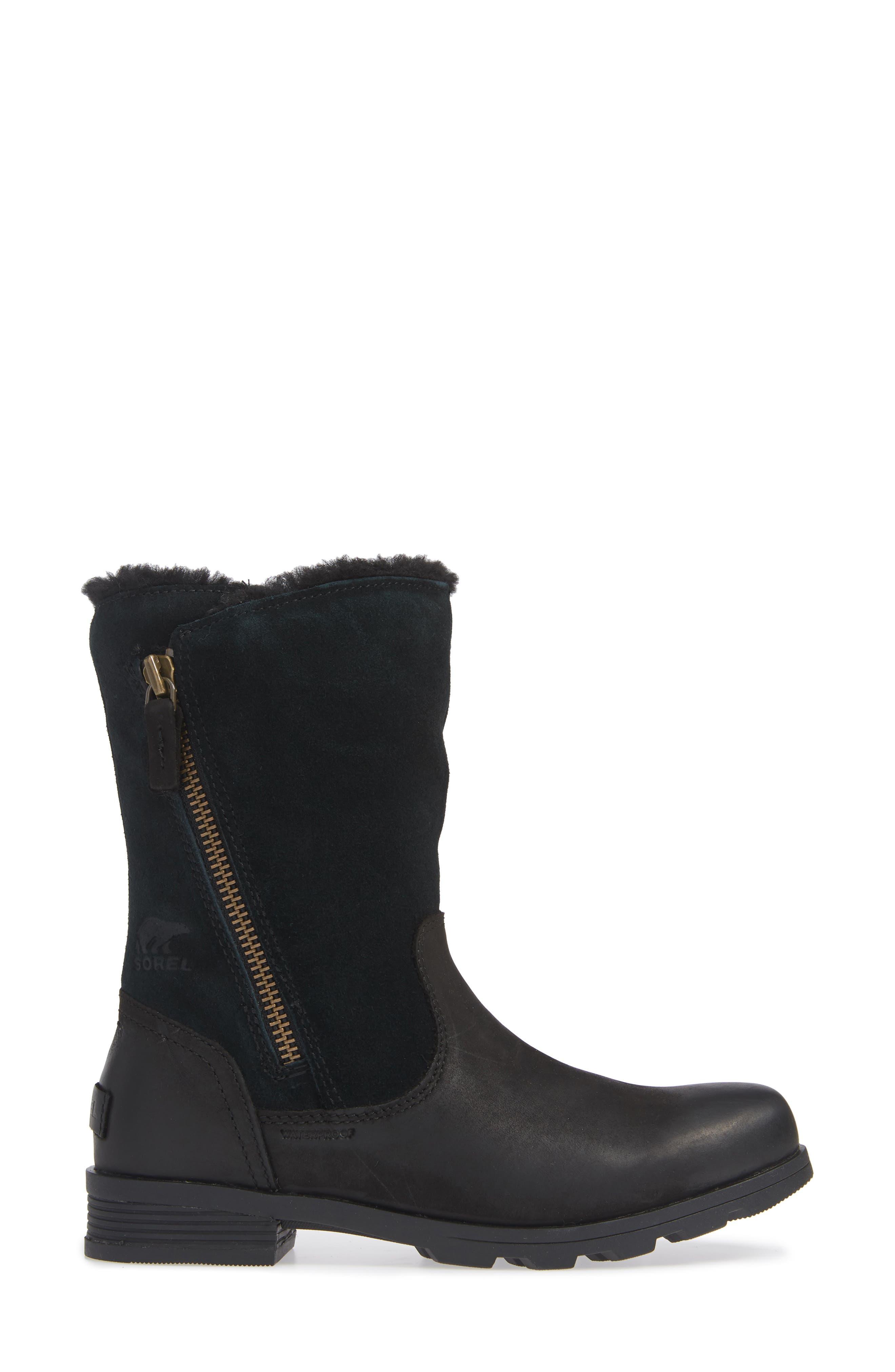 Emelie Waterproof Faux Fur Lined Boot,                             Alternate thumbnail 3, color,                             BLACK