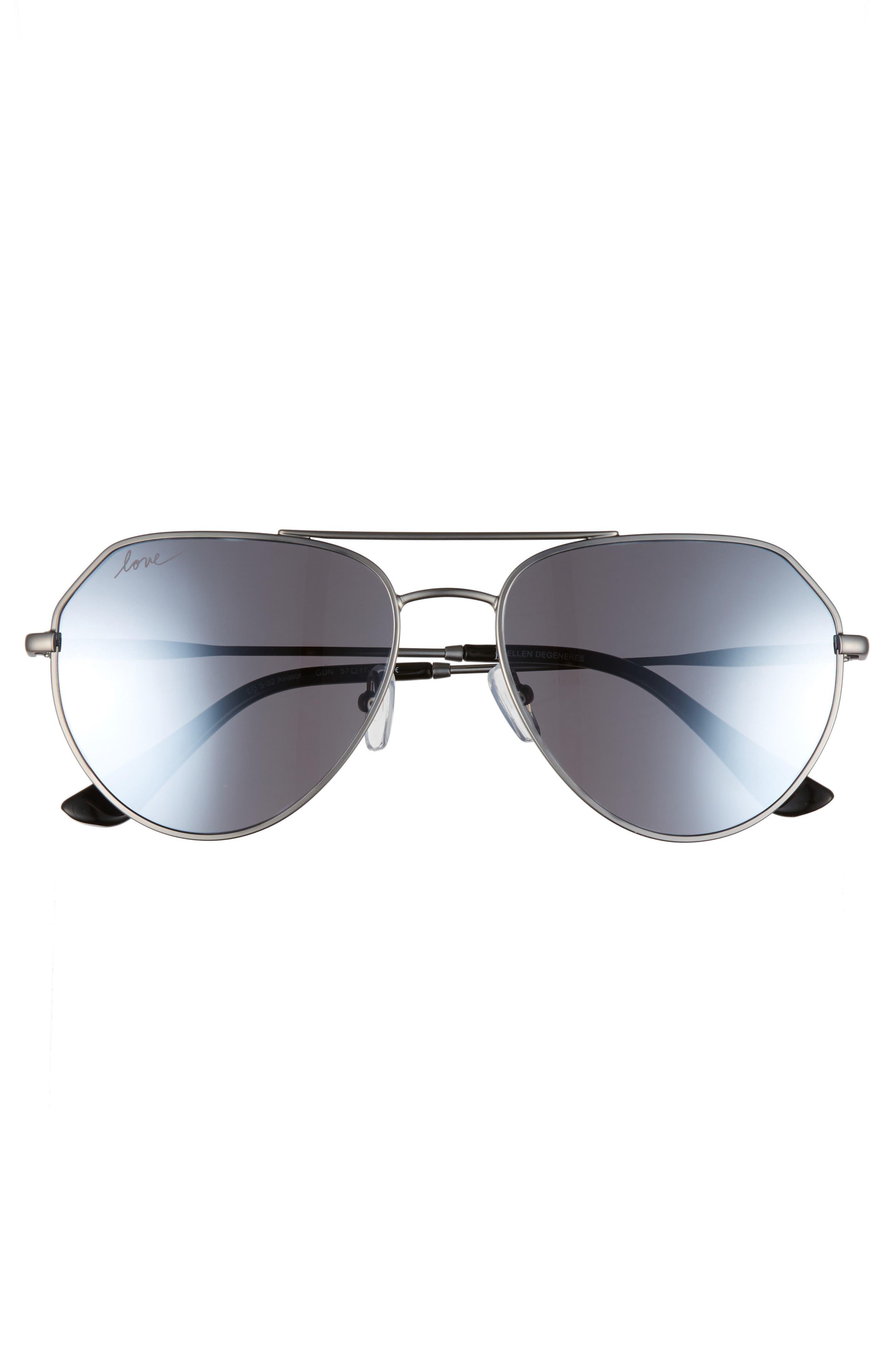 57mm Aviator Sunglasses,                             Alternate thumbnail 3, color,                             GUN METAL
