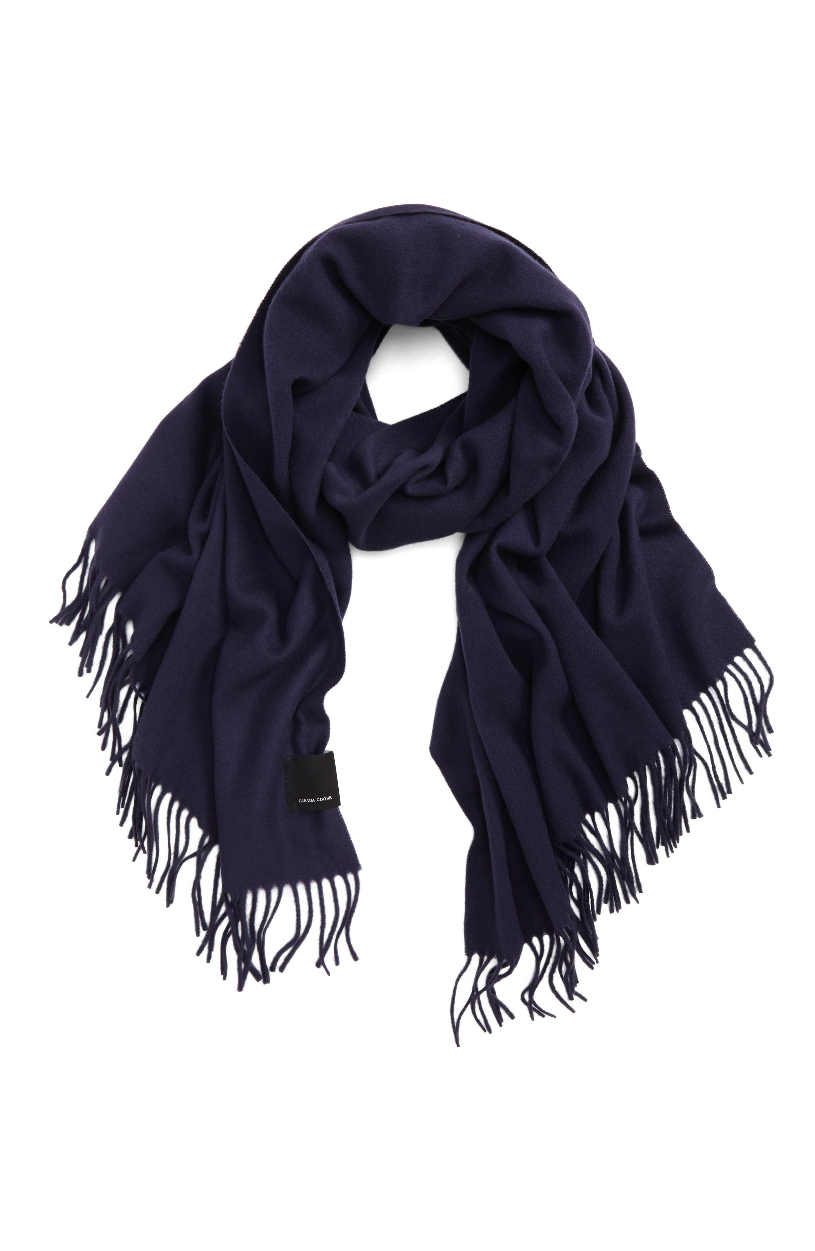 Woven Wool Scarf,                             Main thumbnail 1, color,                             NAVY