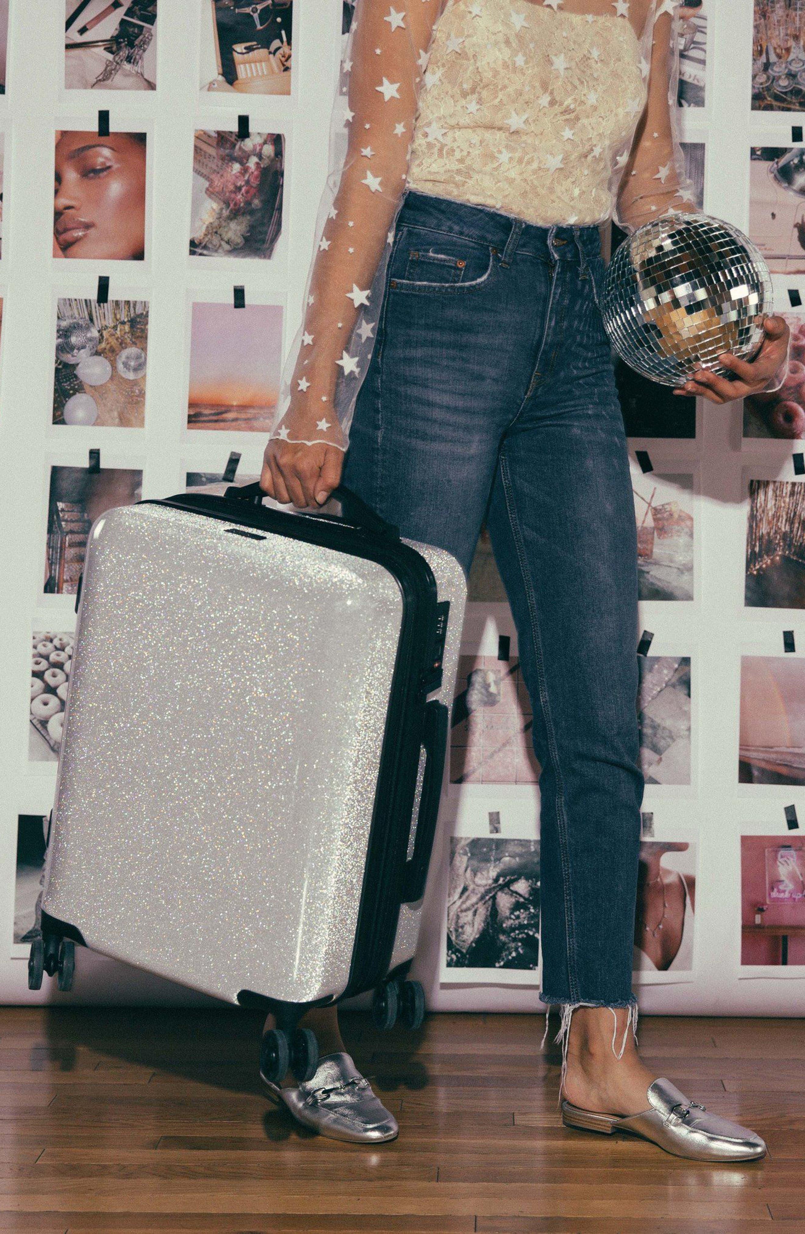 Medora Glitter 20-Inch Hardshell Spinner Carry-On Suitcase,                             Alternate thumbnail 8, color,                             SILVER STARDUST