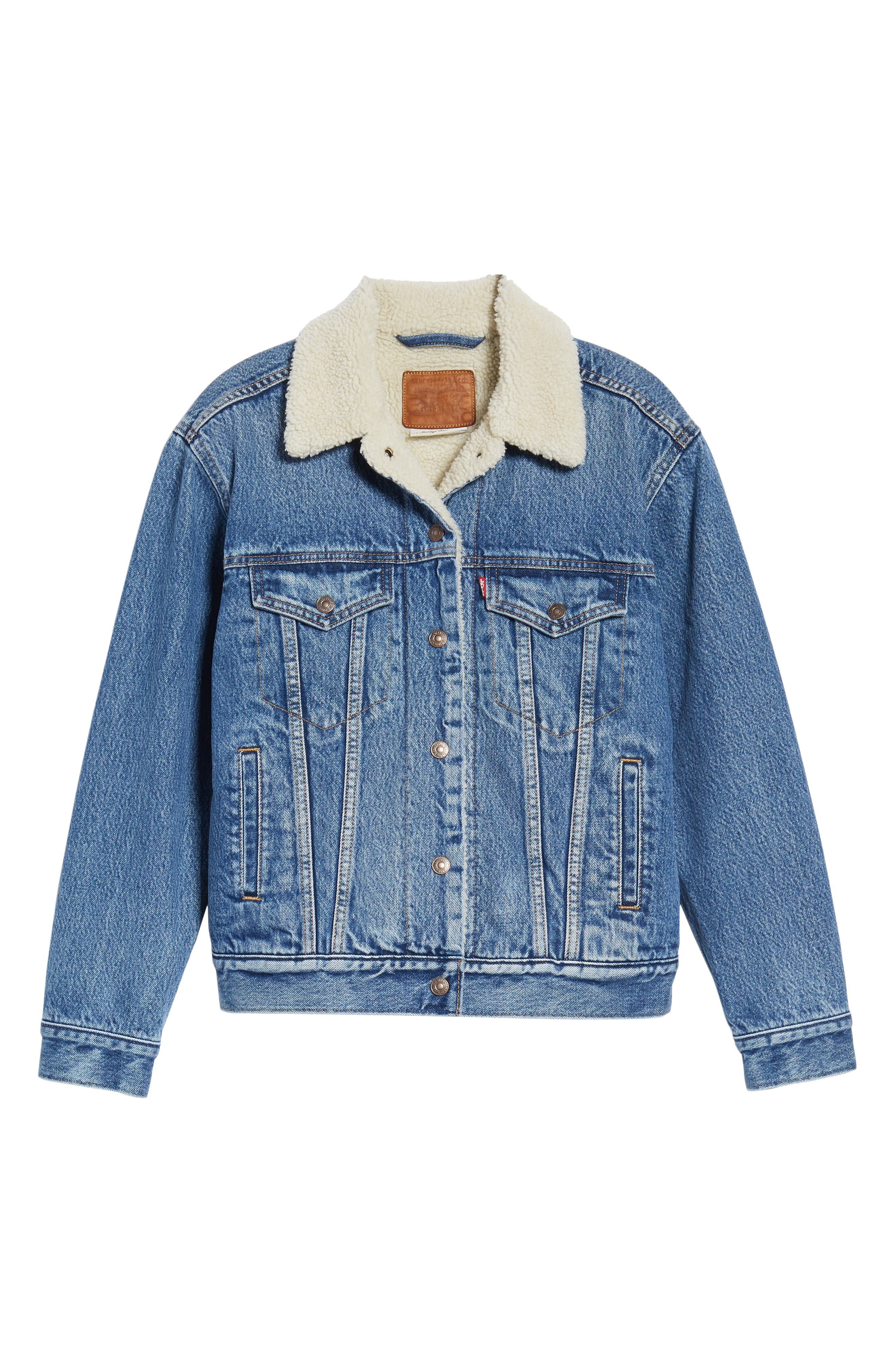 Ex-Boyfriend Fleece Lined Denim Jacket,                             Alternate thumbnail 6, color,                             ADDICTED TO LOVE