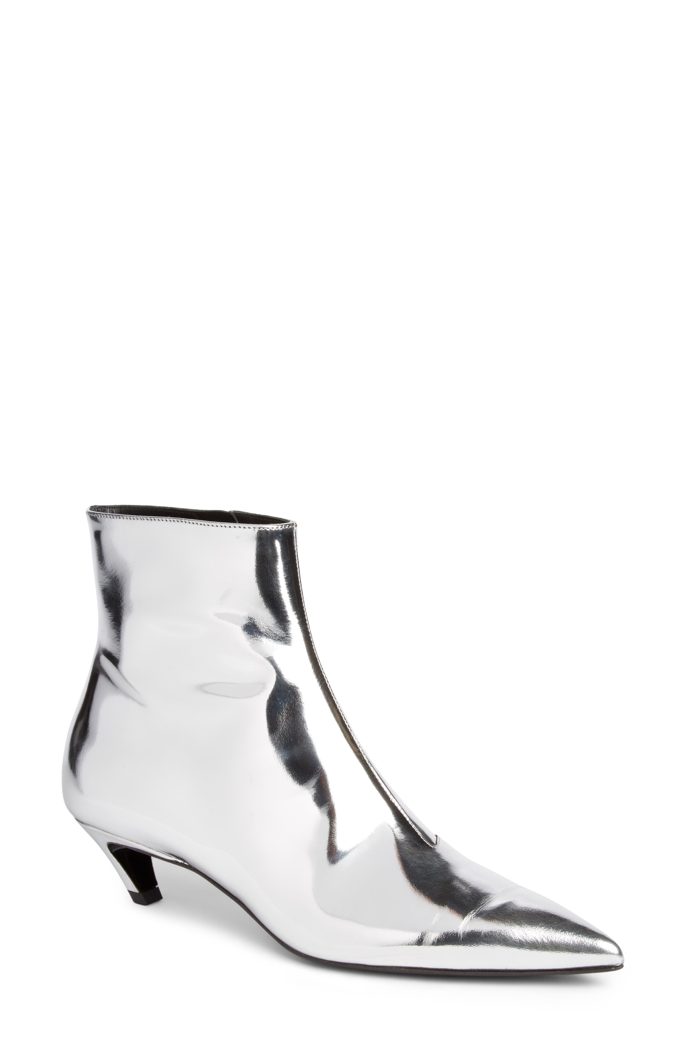 Metallic Pointy Toe Bootie,                             Main thumbnail 1, color,                             SILVER