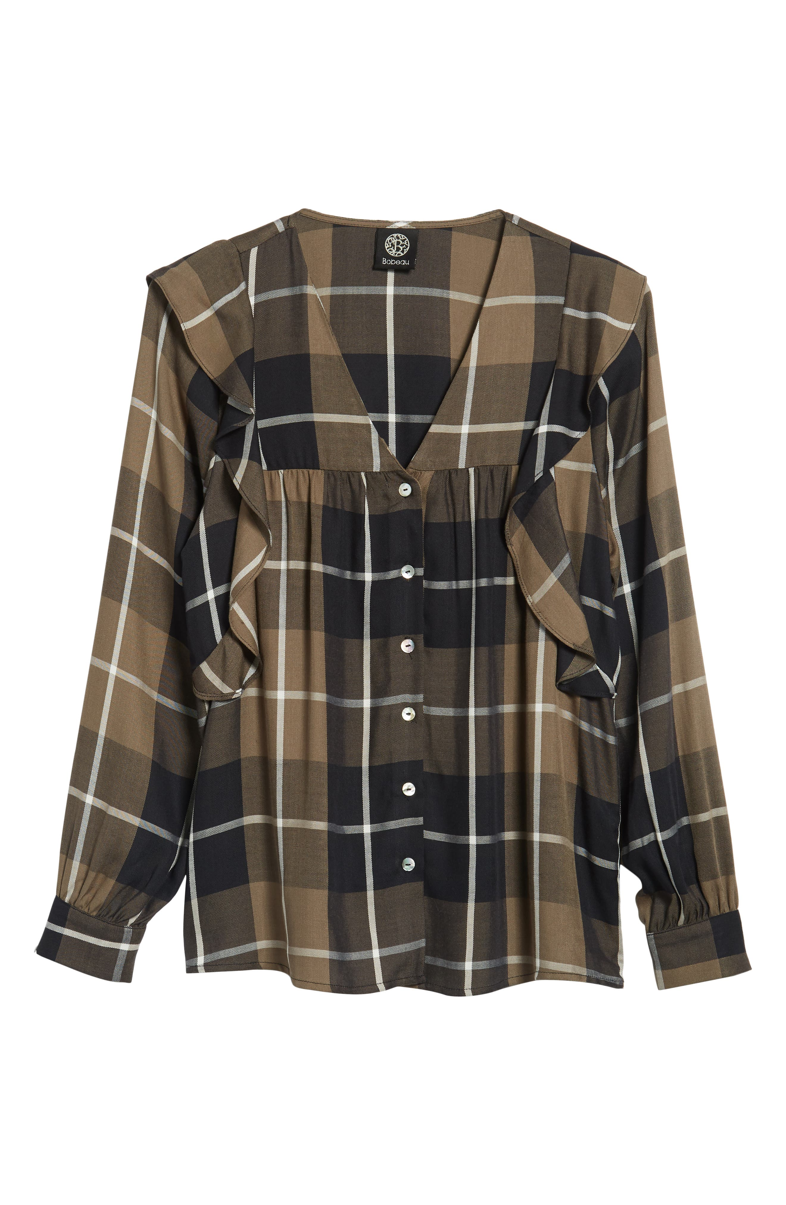 Ruffled Plaid Shirt,                             Alternate thumbnail 7, color,                             001