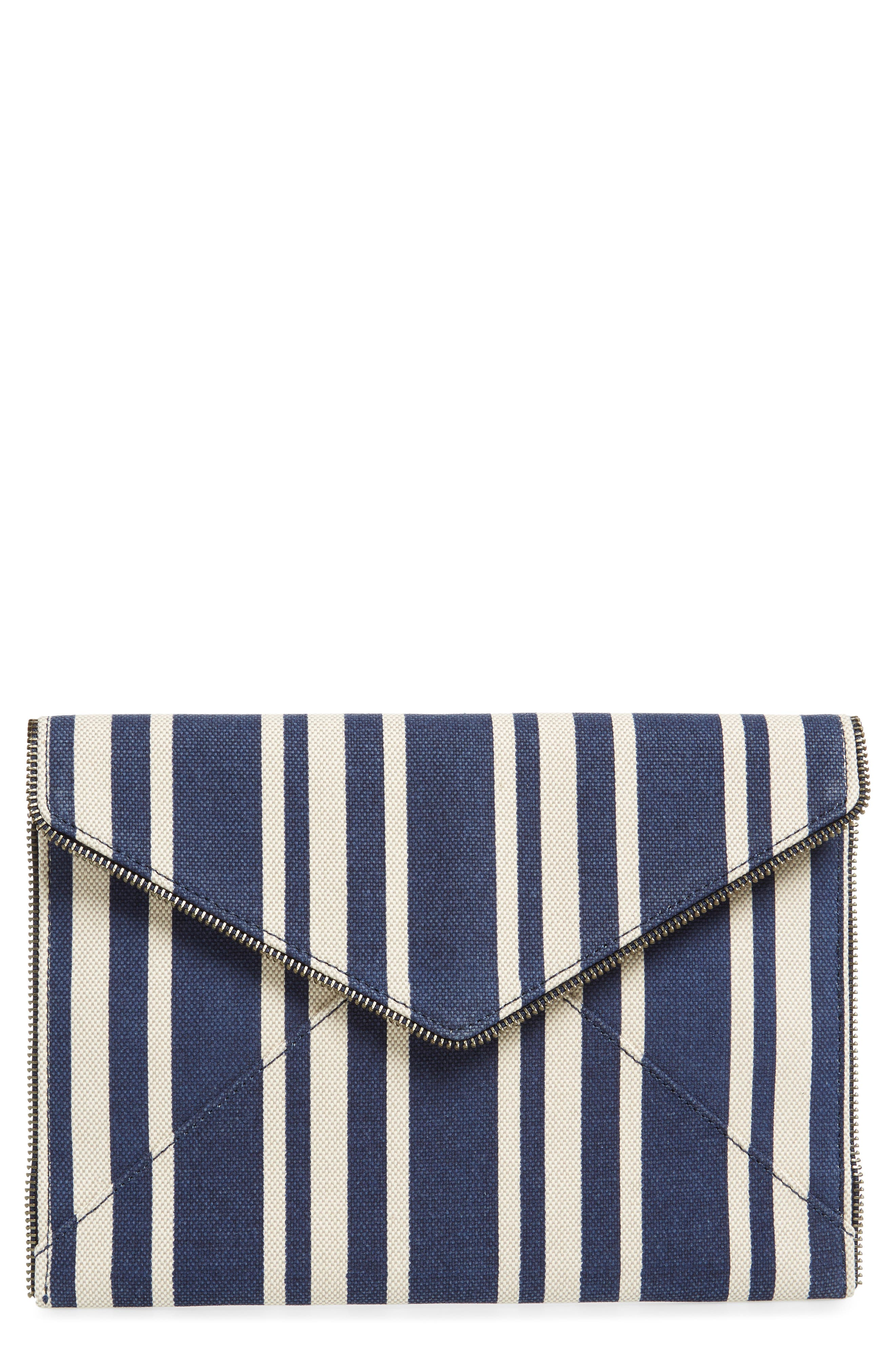 Leo Stripe Canvas Envelope Clutch,                         Main,                         color, 462