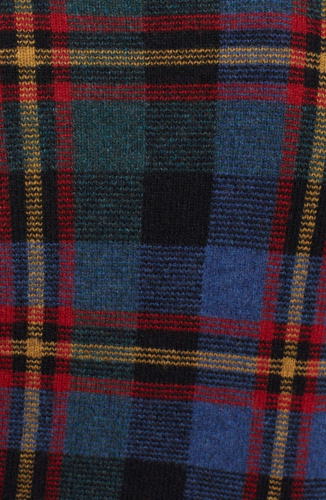 POLO RALPH LAUREN,                             Plaid Shawl Collar Wool Sweater,                             Alternate thumbnail 4, color,                             420