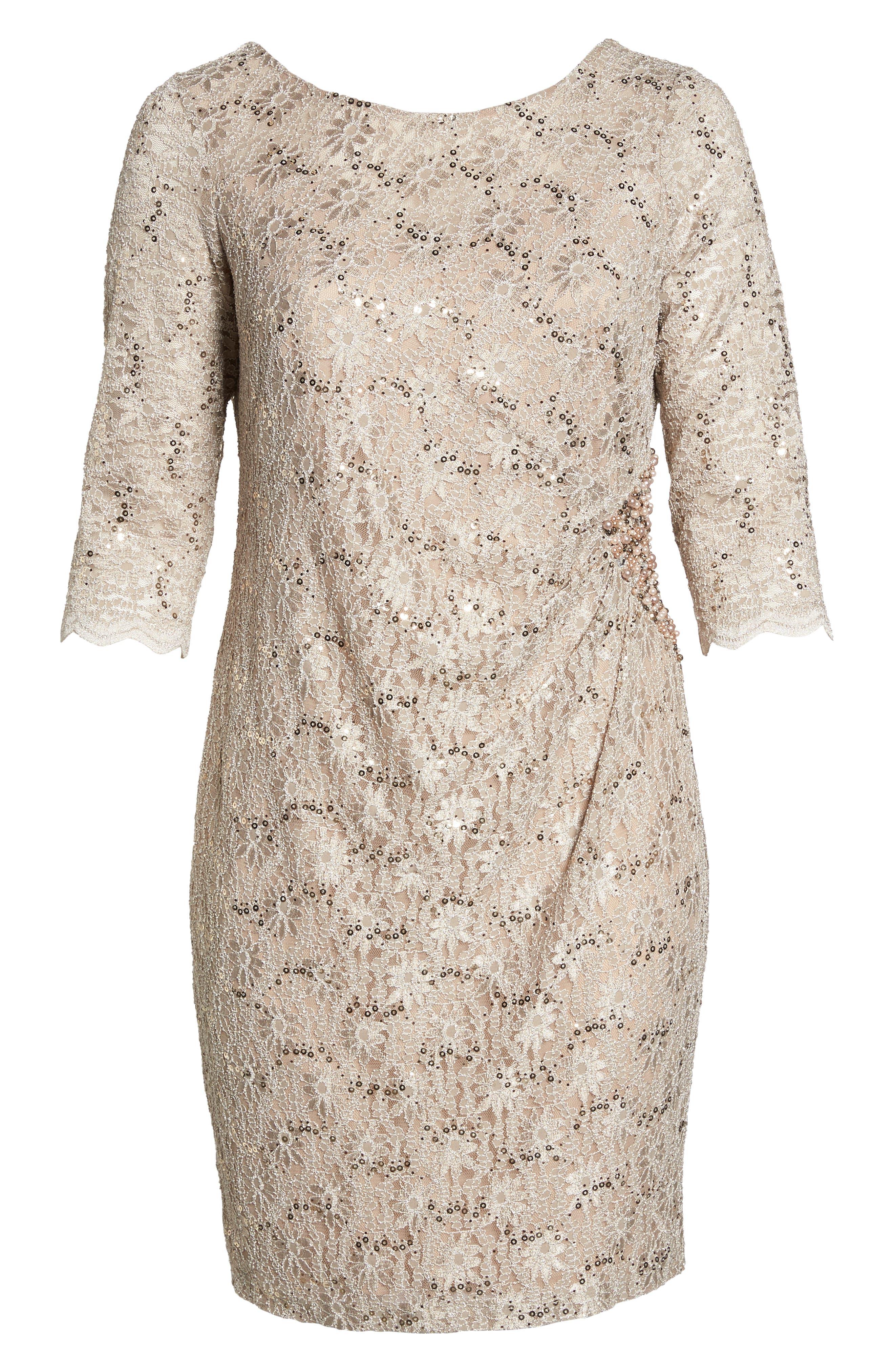 Embellished Illusion Lace Shift Dress,                             Alternate thumbnail 7, color,                             250
