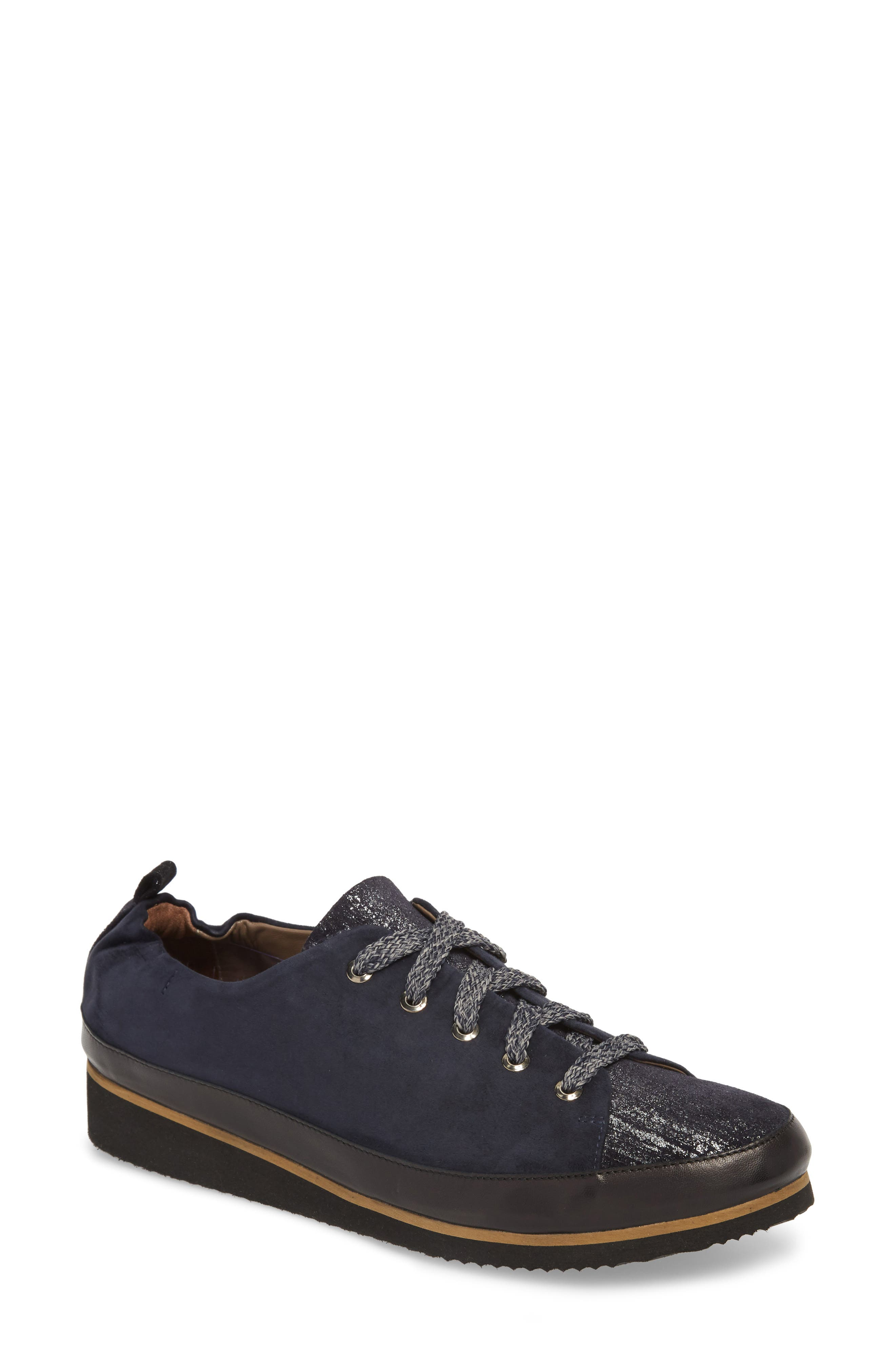 Nettie Lace-Up Wedge Sneaker,                             Main thumbnail 1, color,                             FRENCH NAVY LEATHER