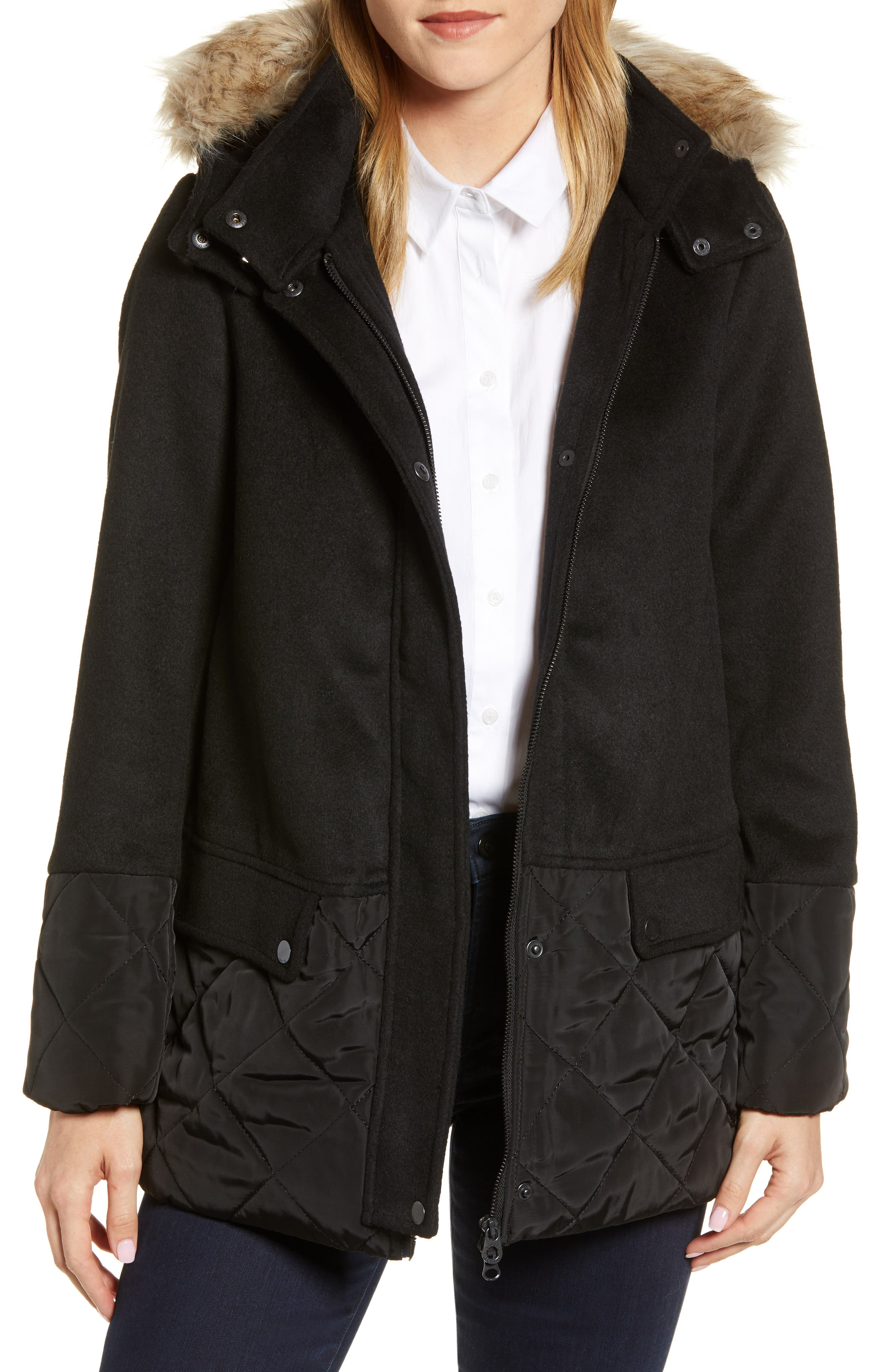 Mixed Texture Hooded Coat with Faux Fur Trim,                             Main thumbnail 1, color,                             BLACK