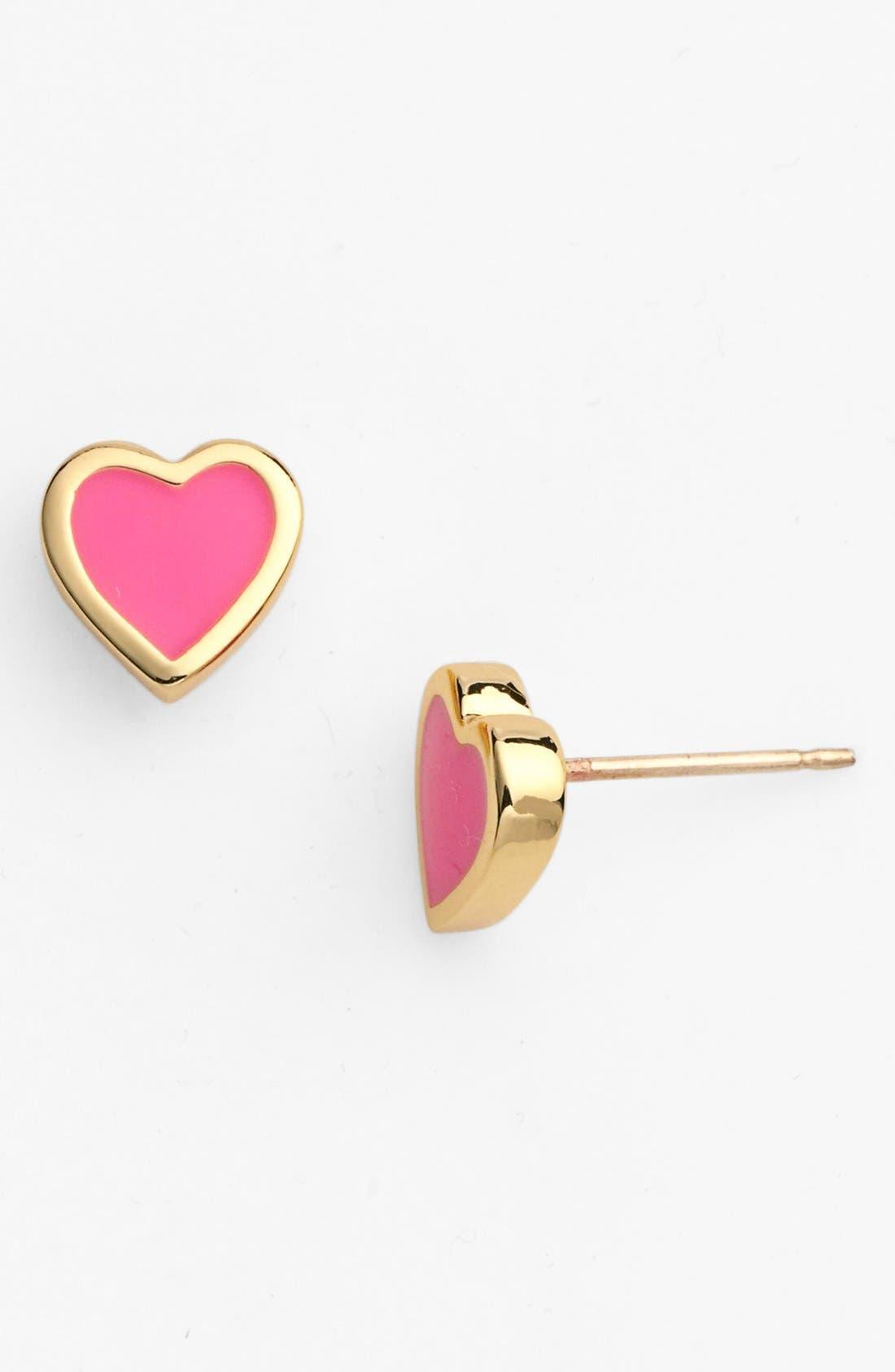 KATE SPADE NEW YORK,                             'be mine' heart stud earrings,                             Main thumbnail 1, color,                             670