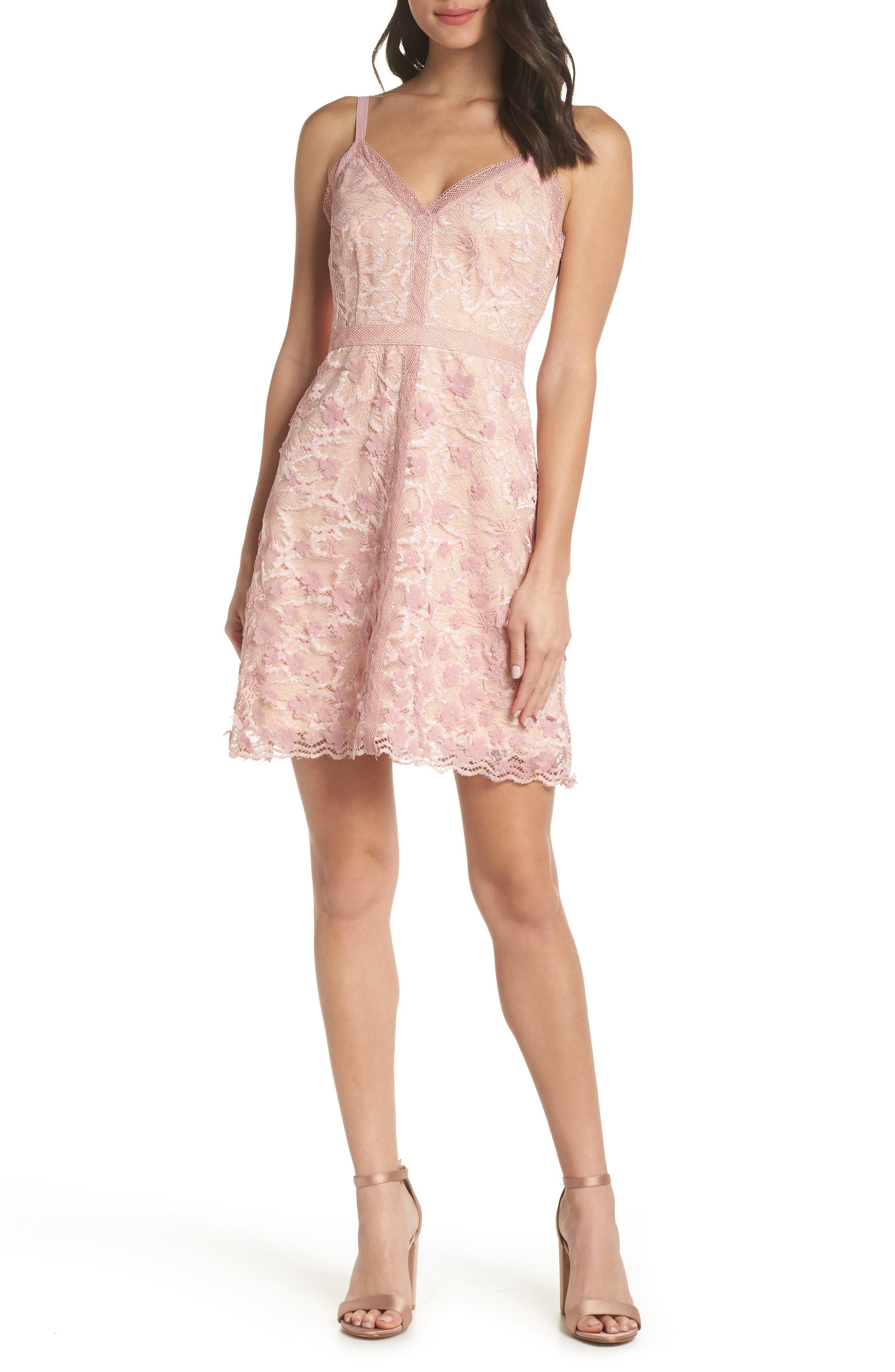 Foxiedox Elisabet 3D Lace Cocktail Dress, Pink