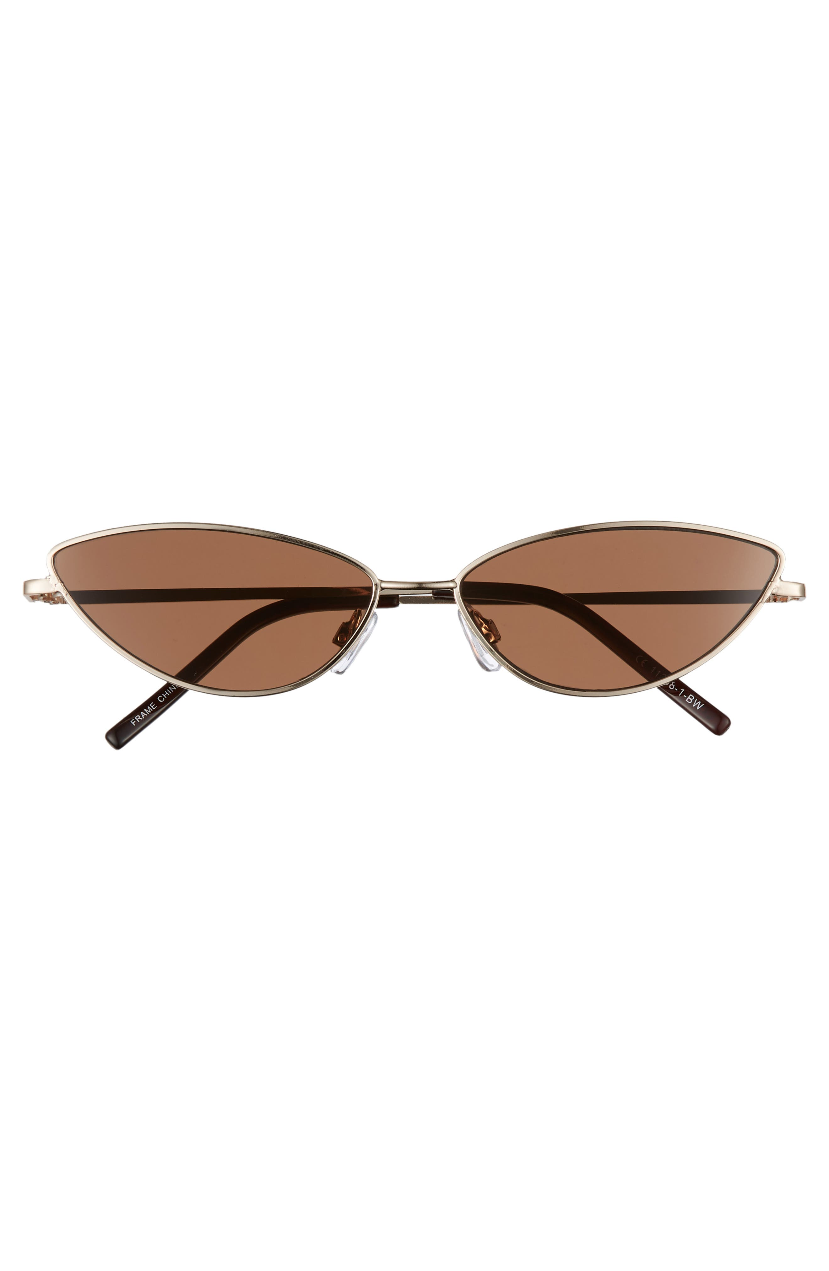 57mm Wide Cat Eye Sunglasses,                             Alternate thumbnail 3, color,                             GOLD/ BROWN