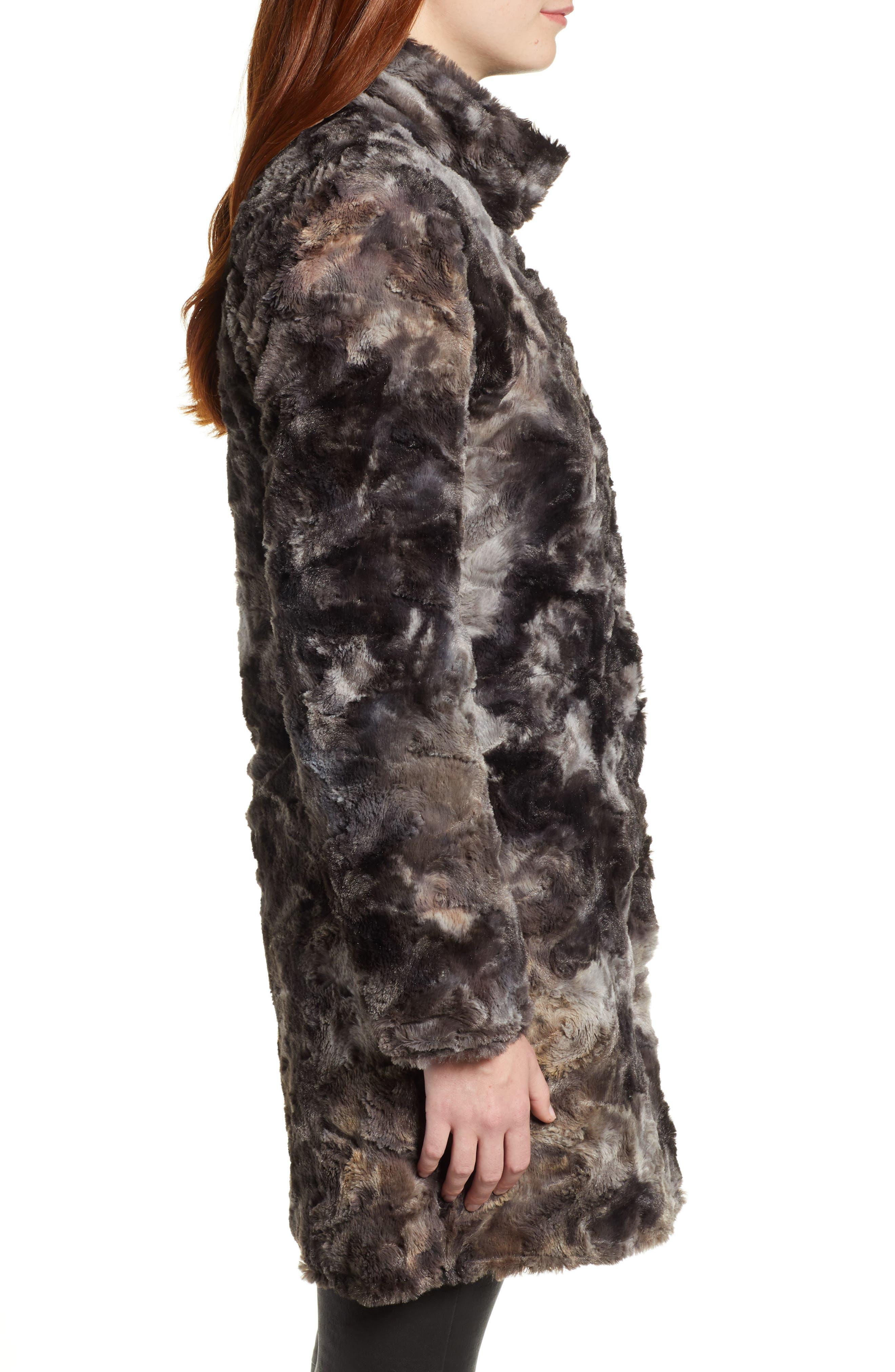 Reversible Faux Leopard Fur Coat,                             Alternate thumbnail 4, color,                             MARLED