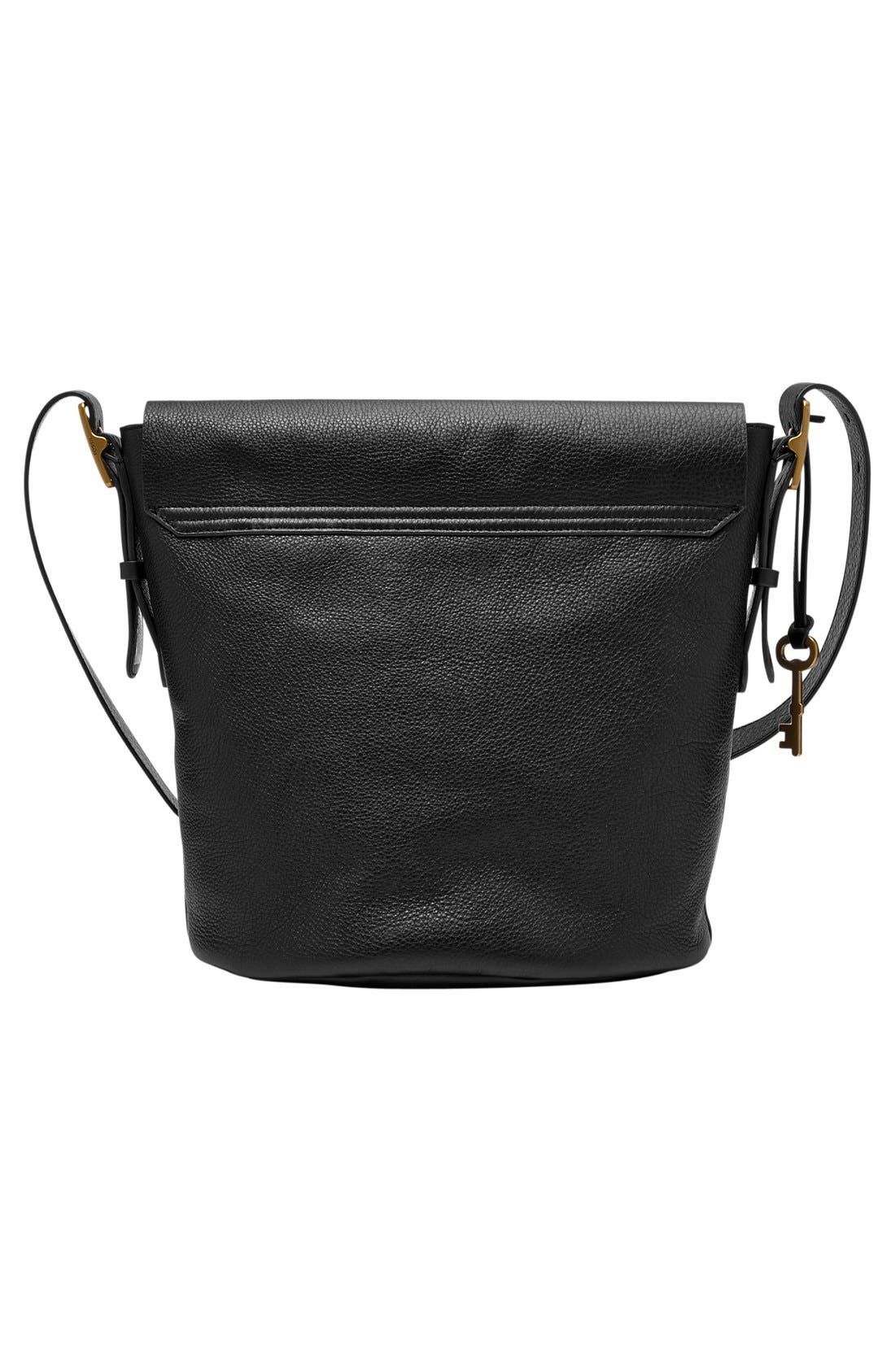 FOSSIL,                             'Haven' Leather Bucket Bag,                             Alternate thumbnail 3, color,                             001