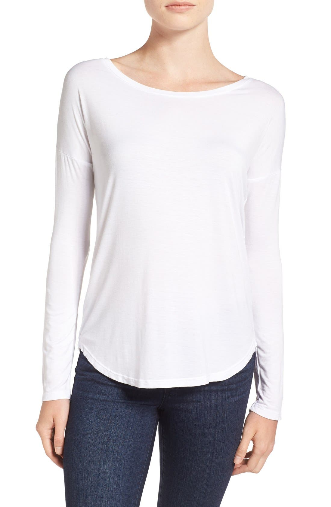 'Bess' Stretch Jersey Boatneck Tee,                             Main thumbnail 3, color,