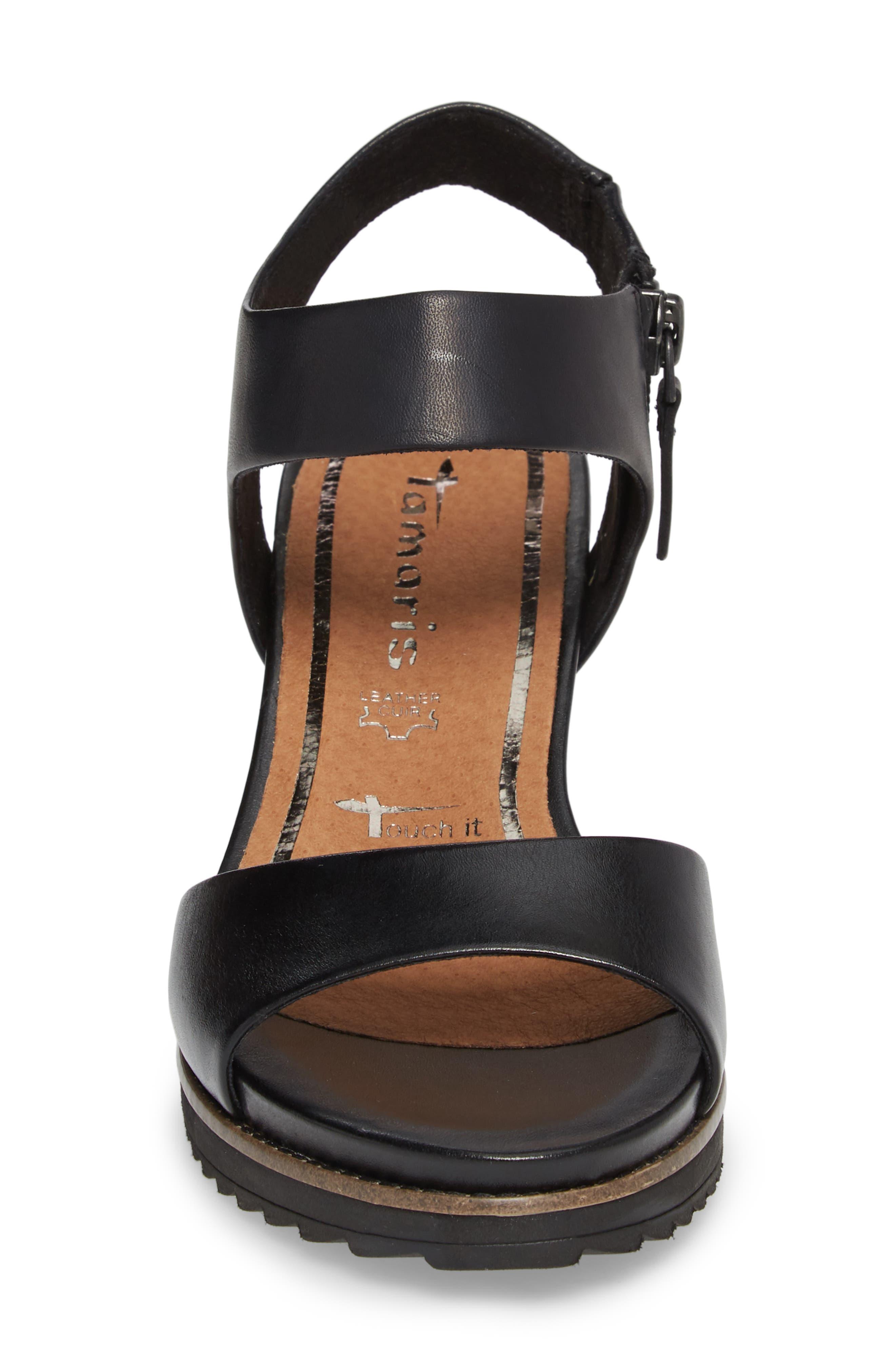 'Alis' Lug Sole Wedge Sandal,                             Alternate thumbnail 4, color,                             003