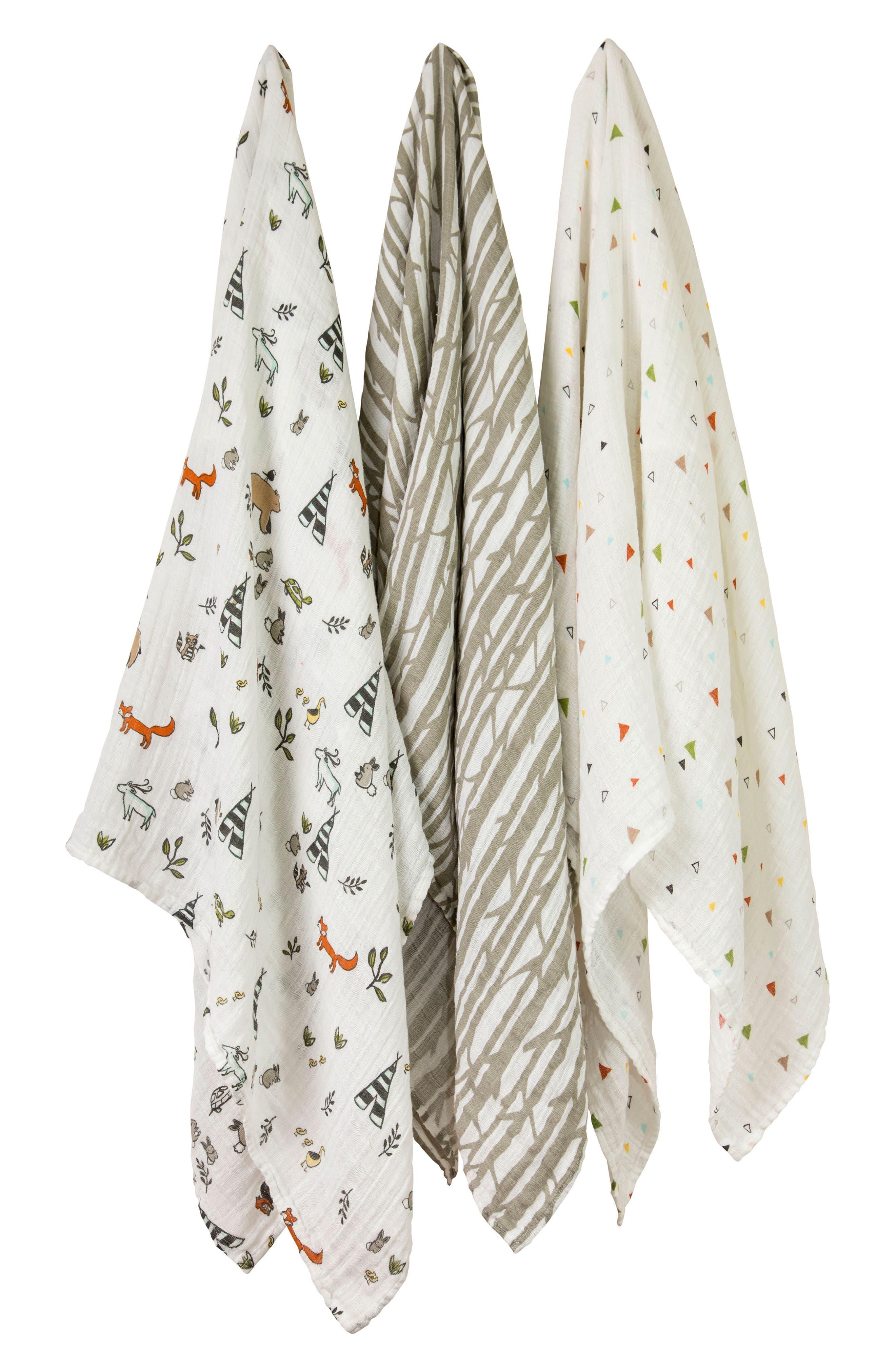 LITTLE UNICORN,                             3-Pack Cotton Muslin Blankets,                             Main thumbnail 1, color,                             FOREST FRIENDS