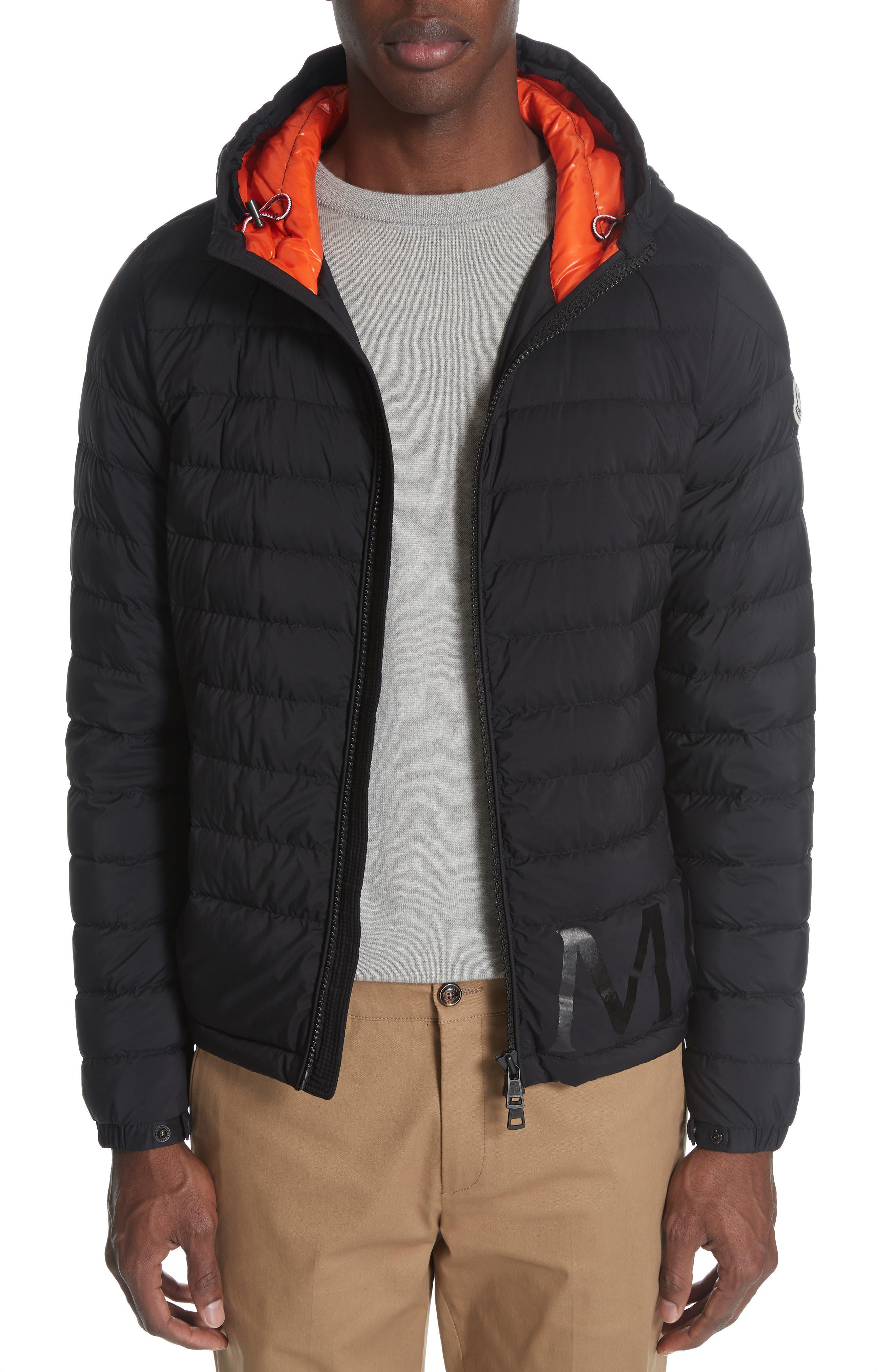 MONCLER,                             Dreux Hooded Down Jacket,                             Alternate thumbnail 4, color,                             BLACK