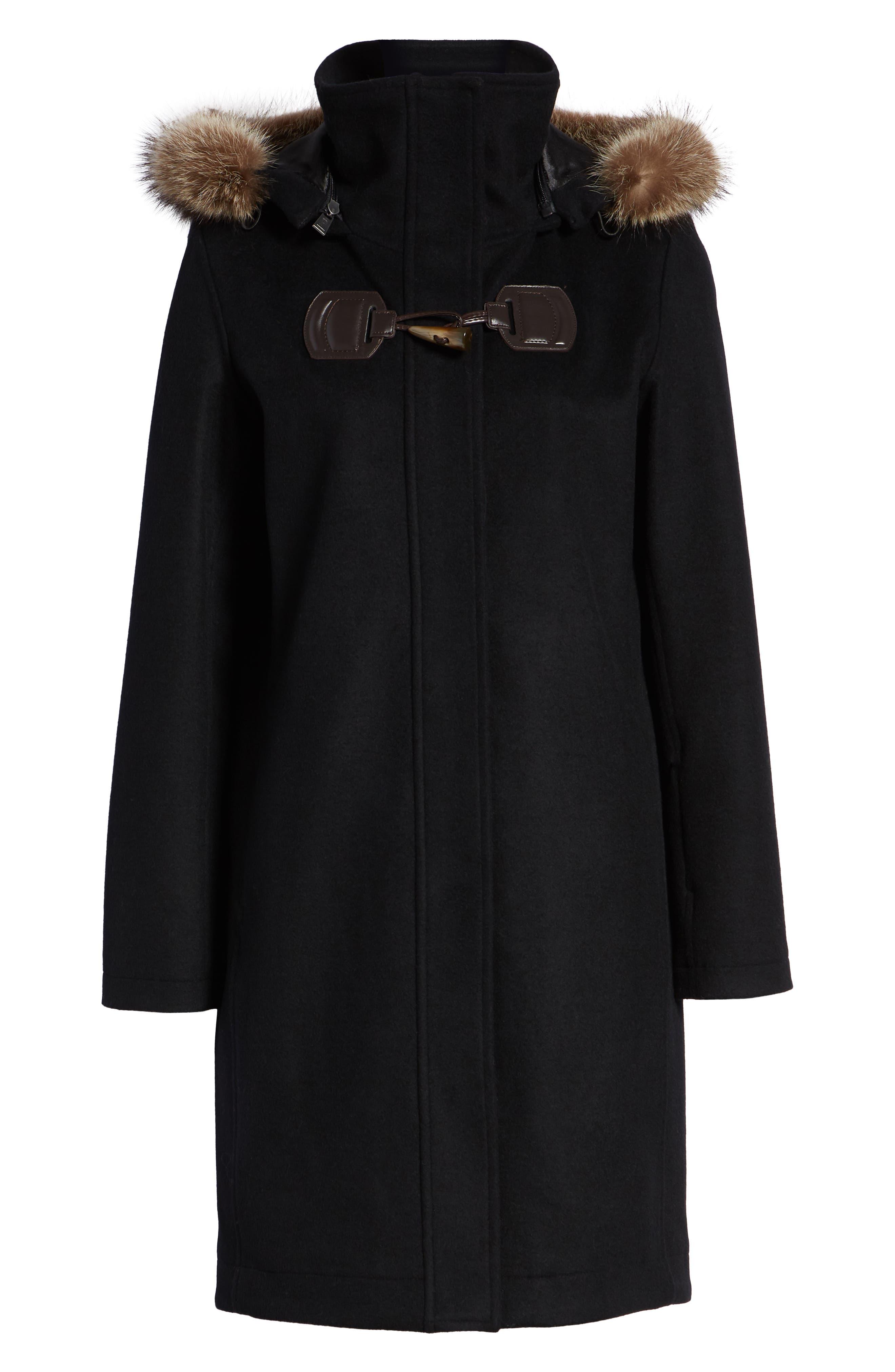 St Marie Wool Hooded Coat with Genuine Raccoon Fur Trim,                             Alternate thumbnail 6, color,                             BLACK