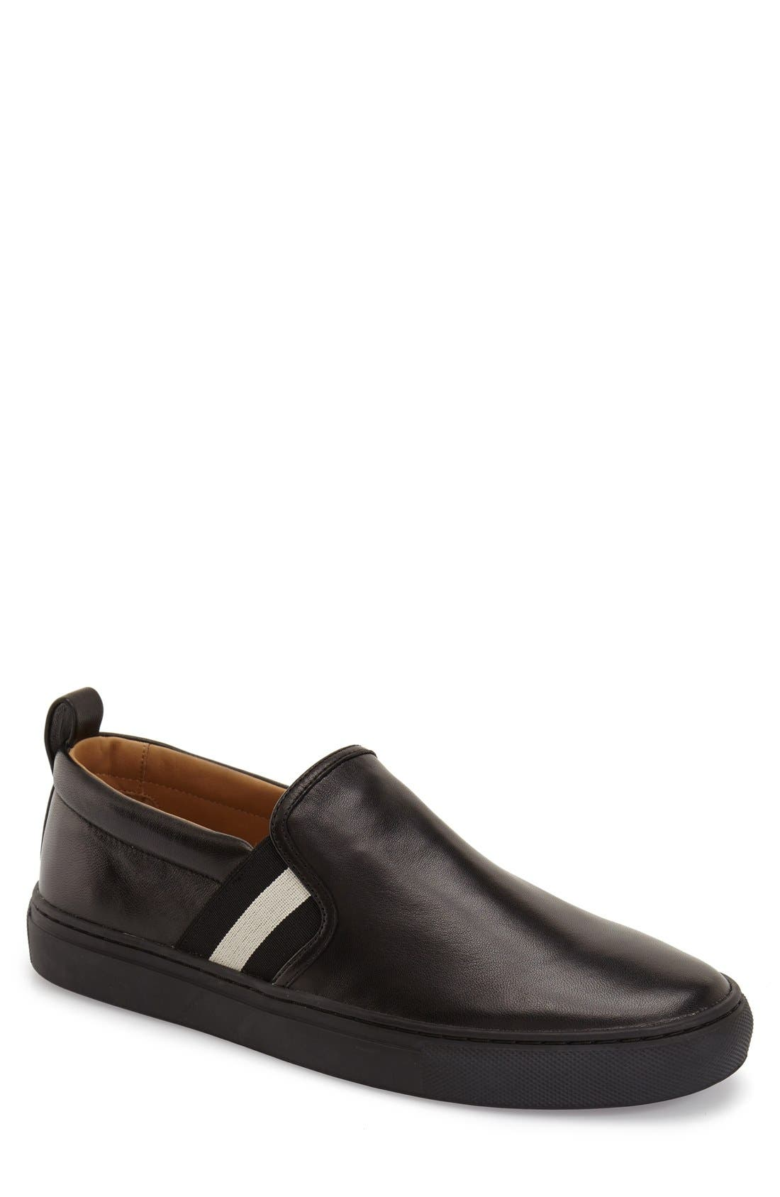 'Herald' Slip-On,                         Main,                         color, BLACK LEATHER