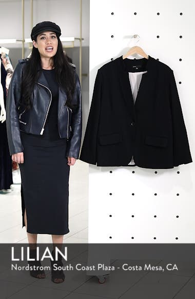 Inverted Notch Collar Cotton Blend Blazer, sales video thumbnail