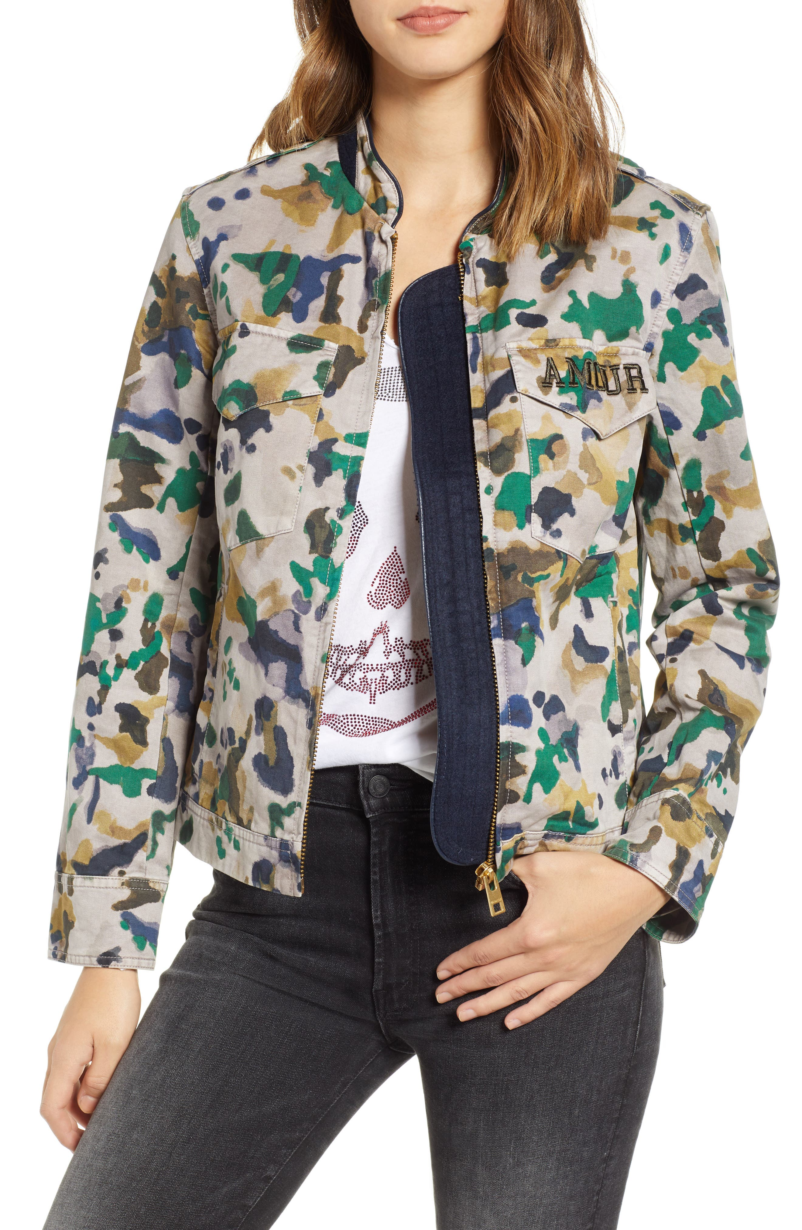 Kavy Watercolor Camouflage Cotton Jacket,                             Main thumbnail 1, color,                             MULTI