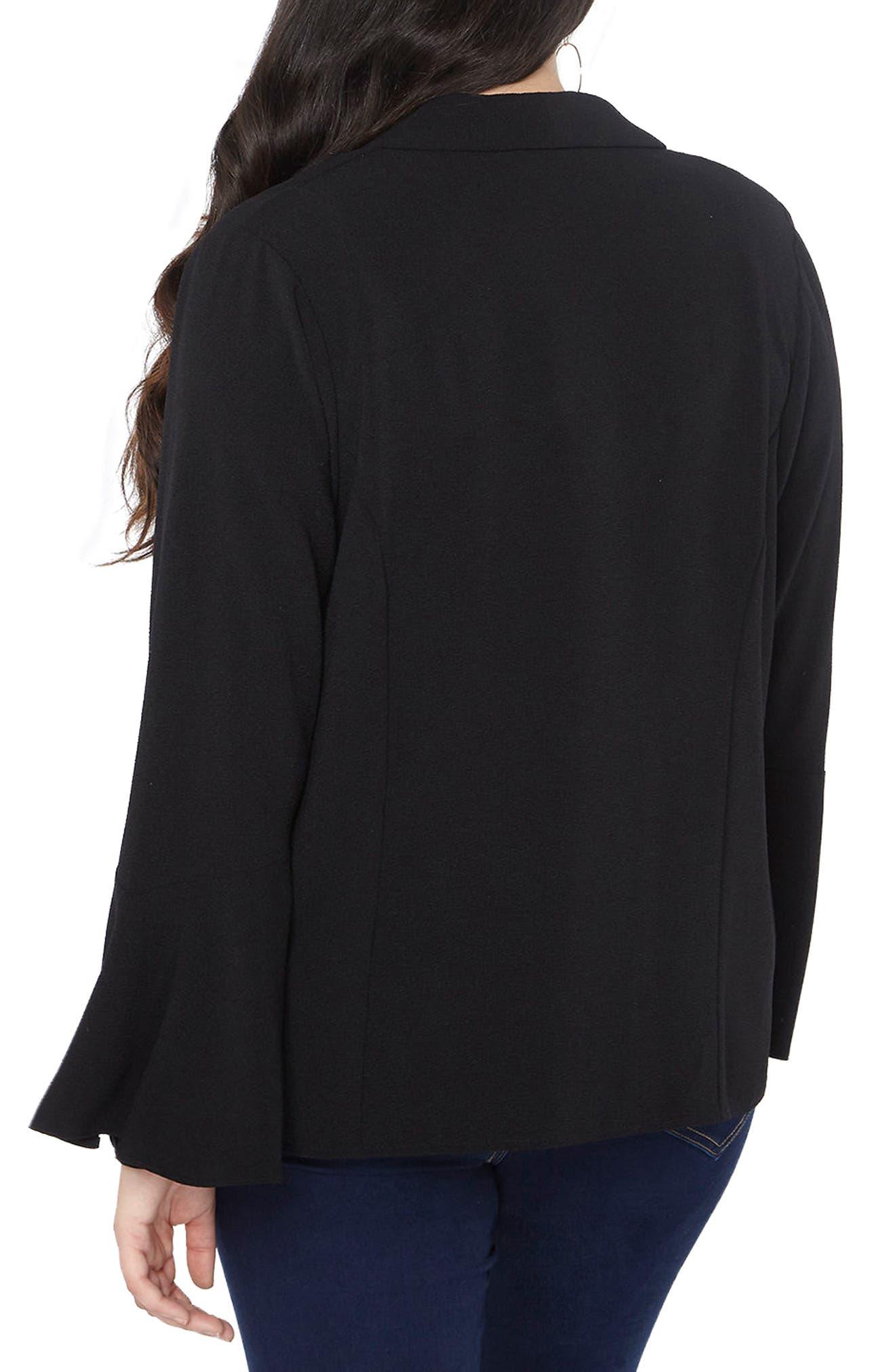 Bell Sleeve Crepe Jacket,                             Alternate thumbnail 2, color,                             001
