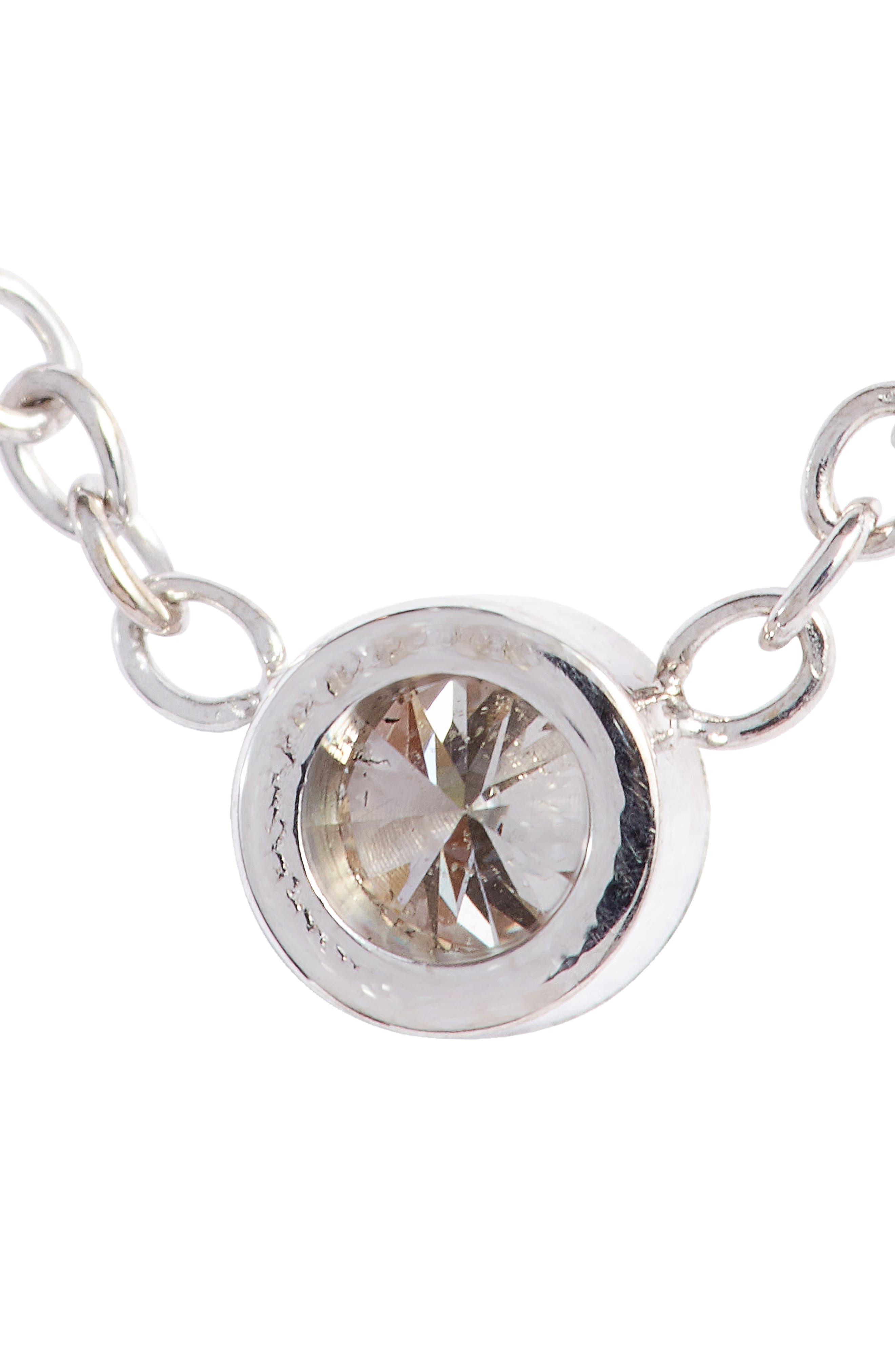 Diamond Bezel Pendant Necklace,                             Alternate thumbnail 6, color,                             WHITE GOLD