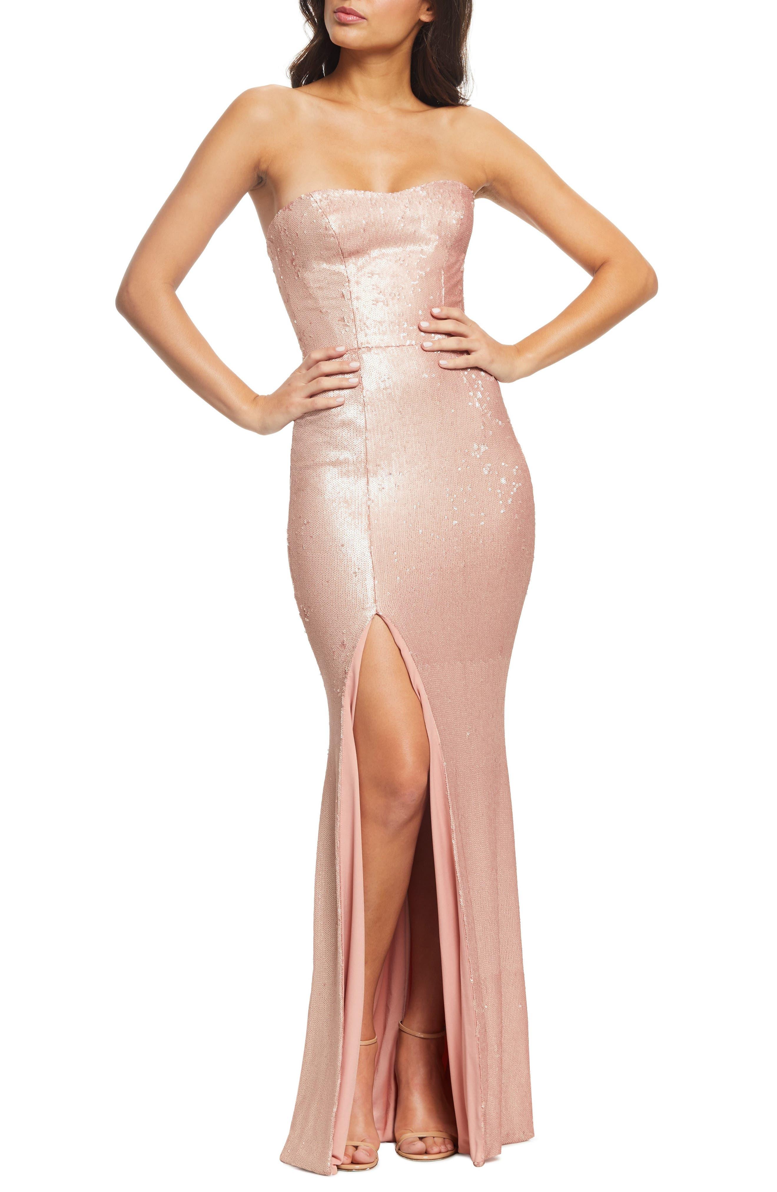 Dress The Population Ellen Strapless Sequin Evening Dress, Pink