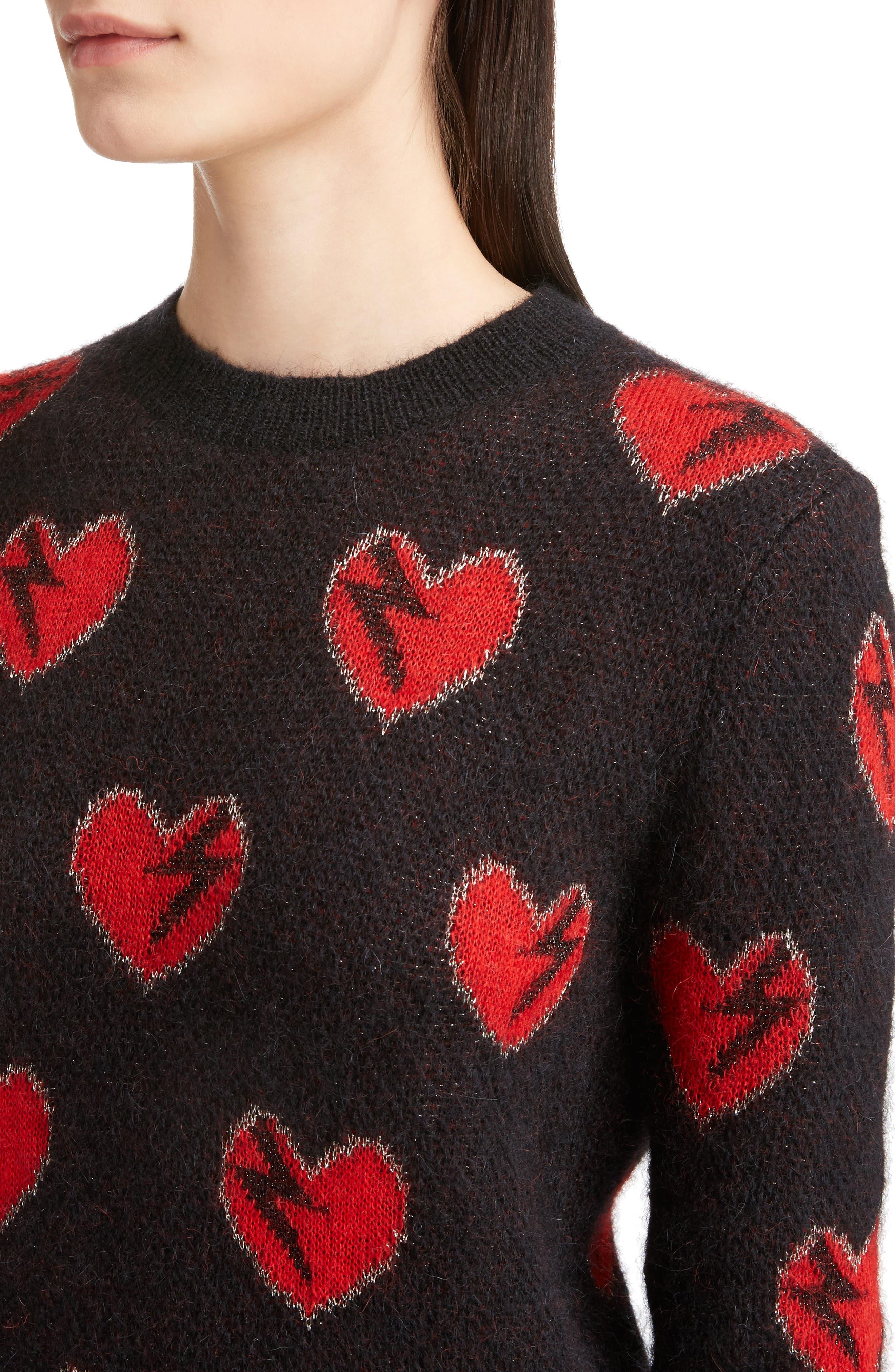 Heart Jacquard Mohair Blend Sweater,                             Alternate thumbnail 4, color,