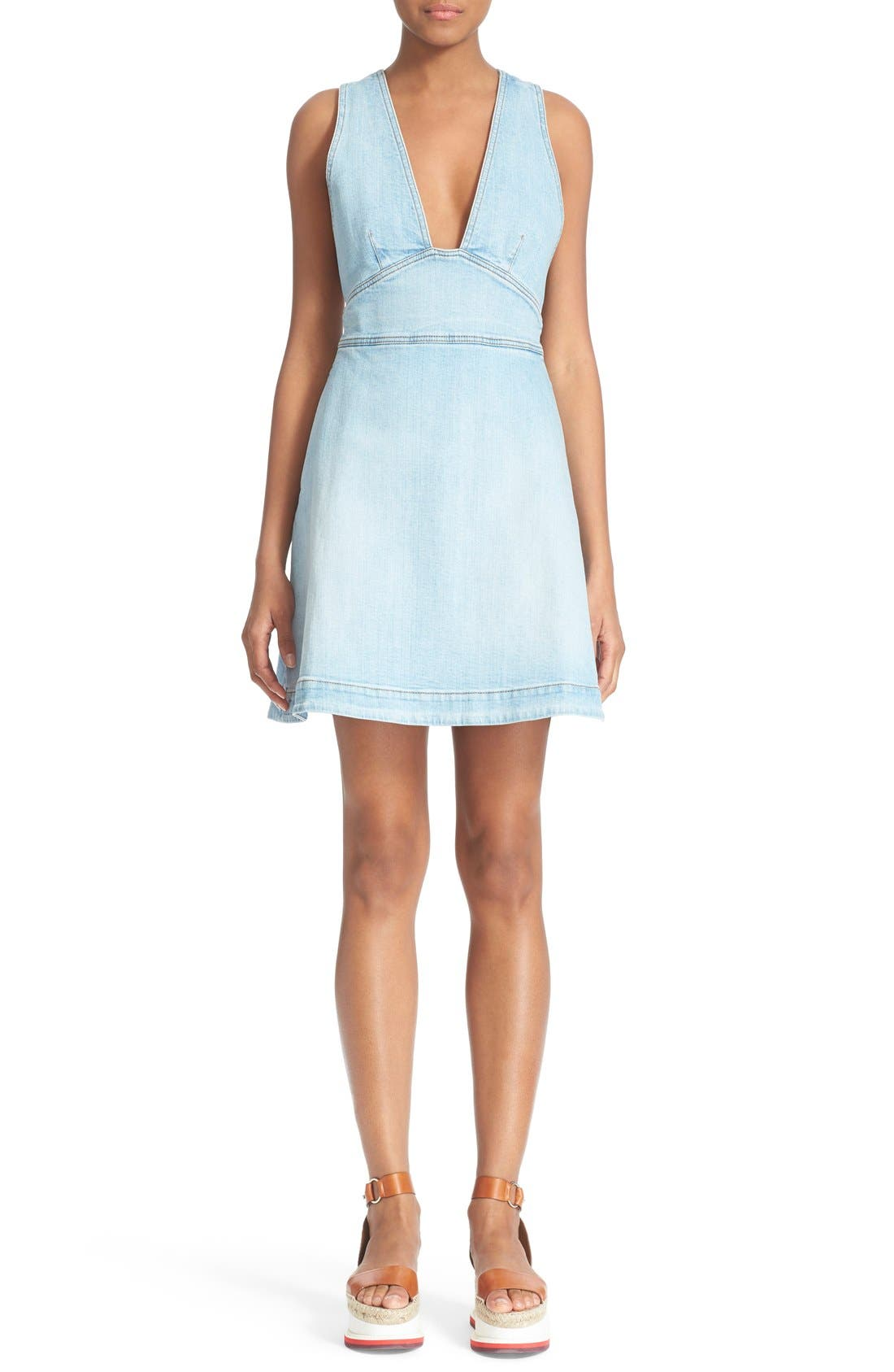 'Anne' Denim Dress,                         Main,                         color, 476
