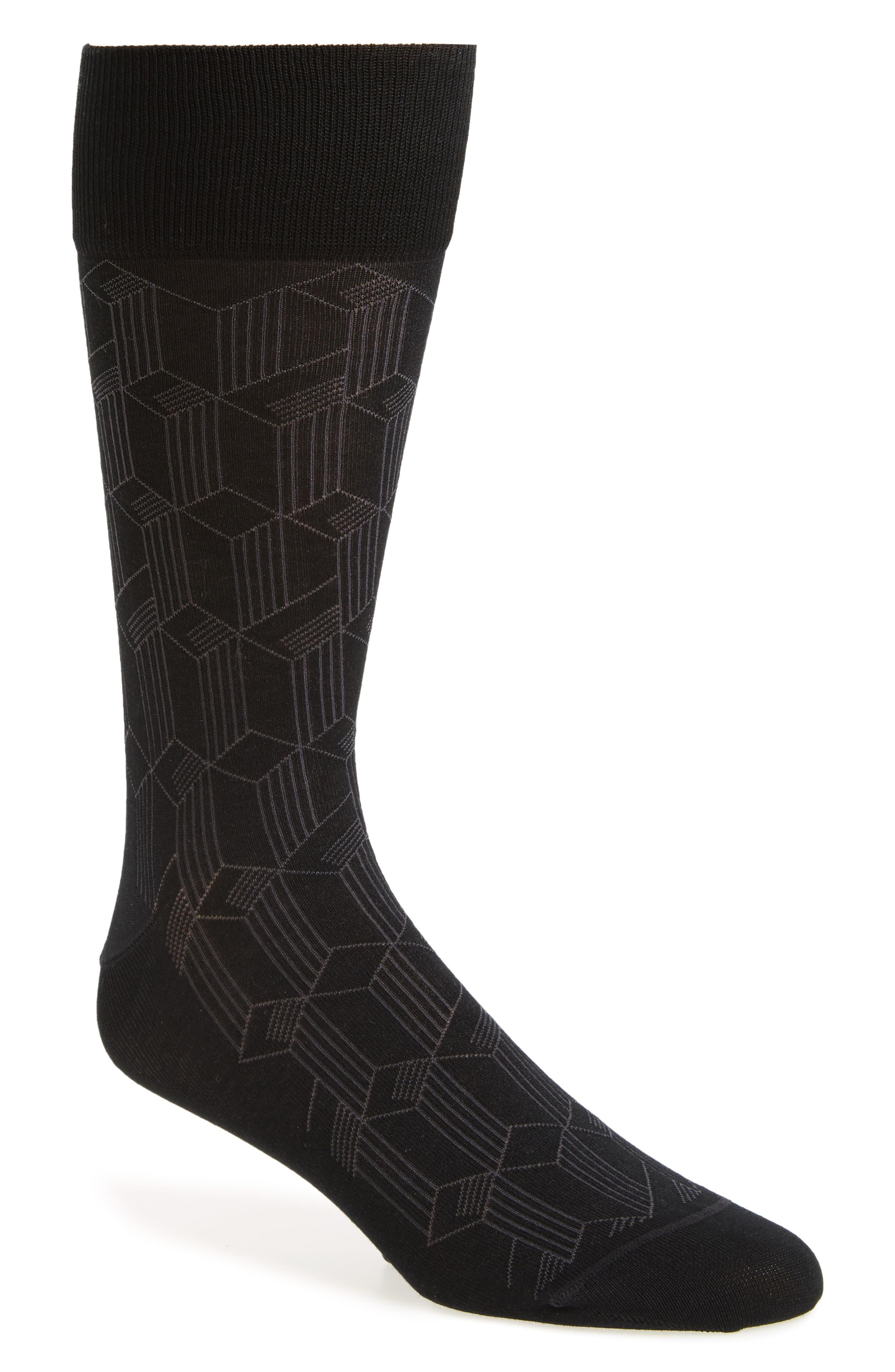 JOHN W. NORDSTROM<SUP>®</SUP> Tumbling Blocks Socks, Main, color, 021