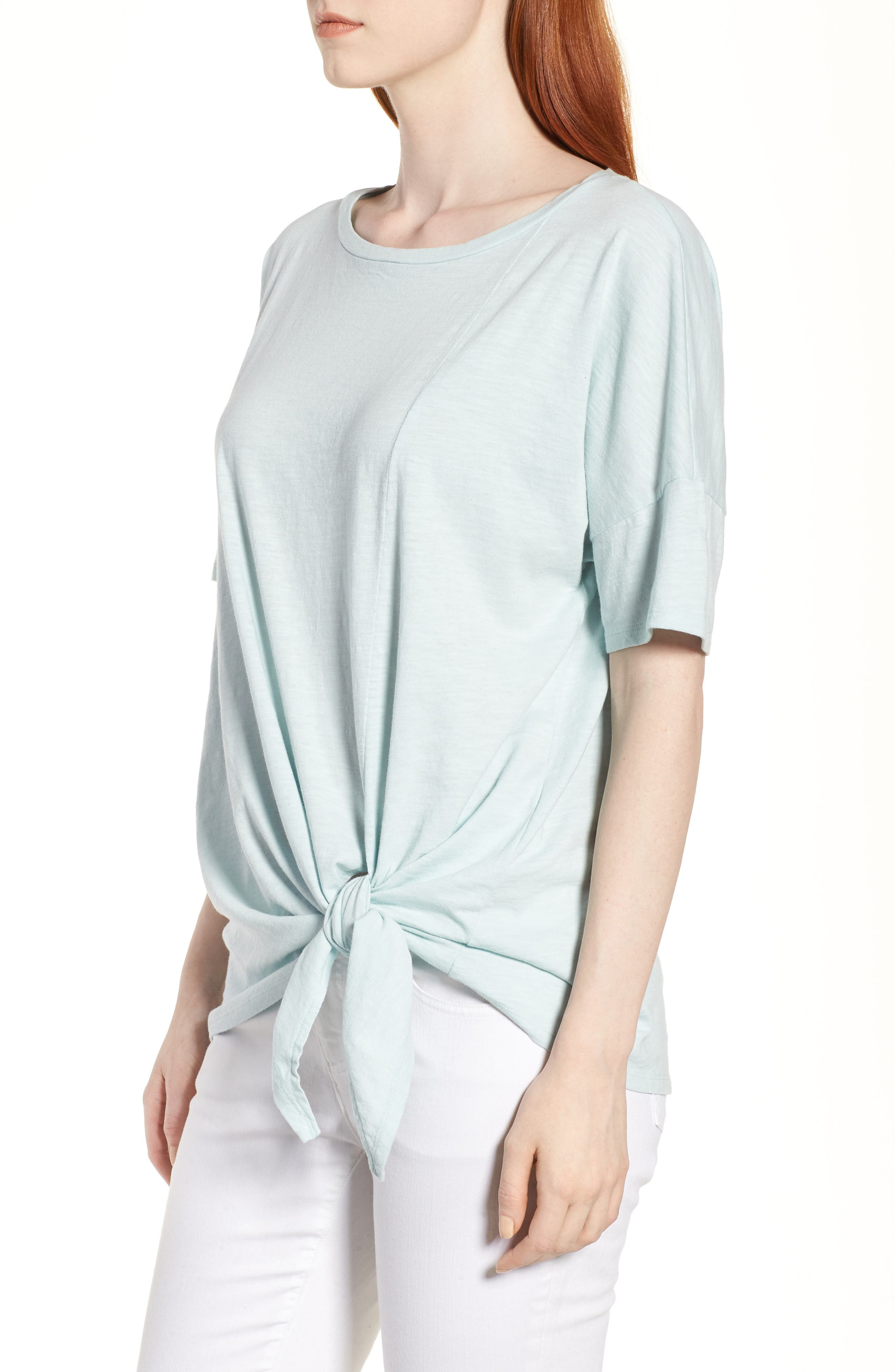 Tie Hem Organic Cotton Tee,                             Alternate thumbnail 14, color,