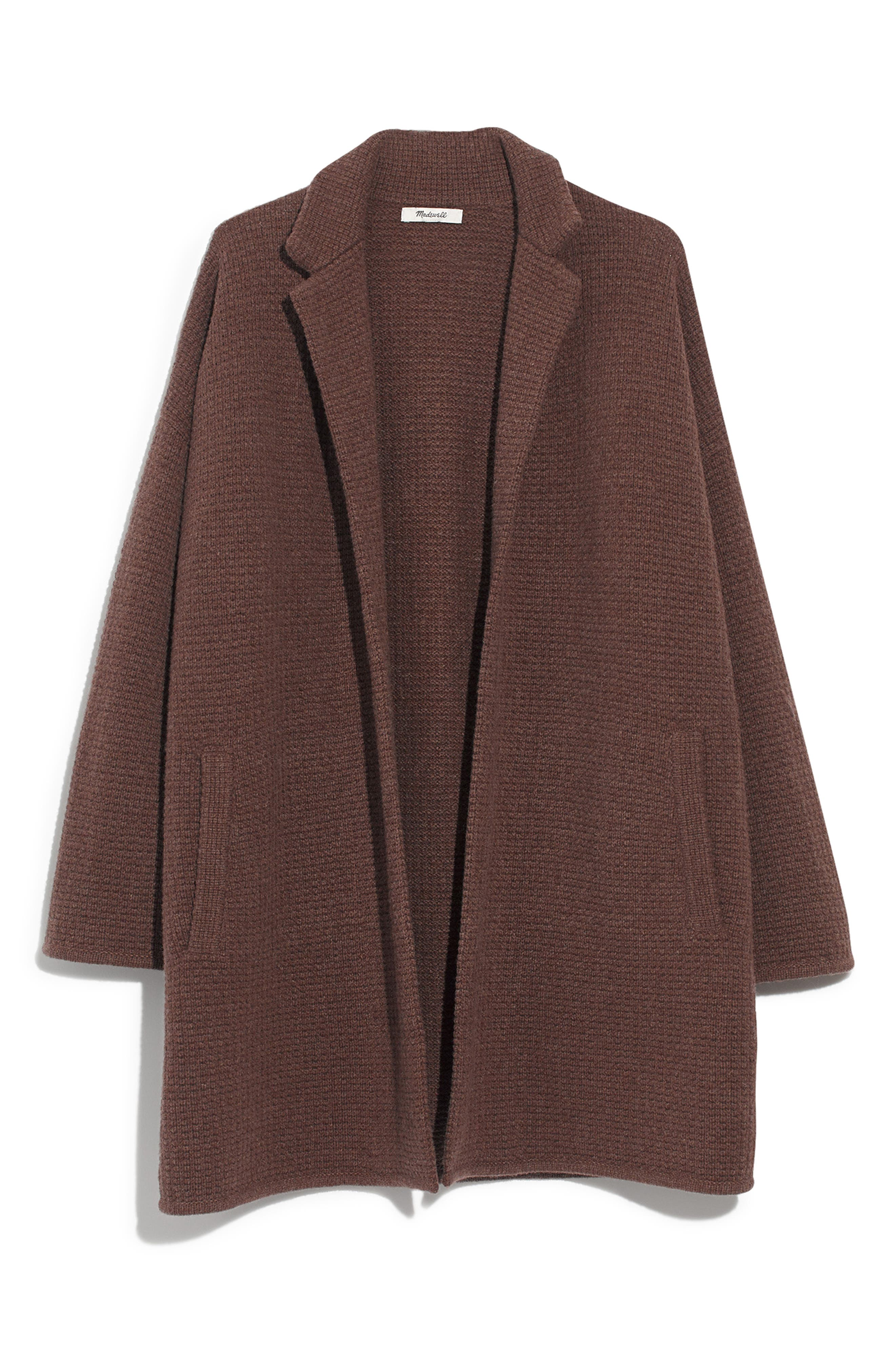 Chilton Sweater Coat,                             Alternate thumbnail 4, color,                             HEATHER COCOA