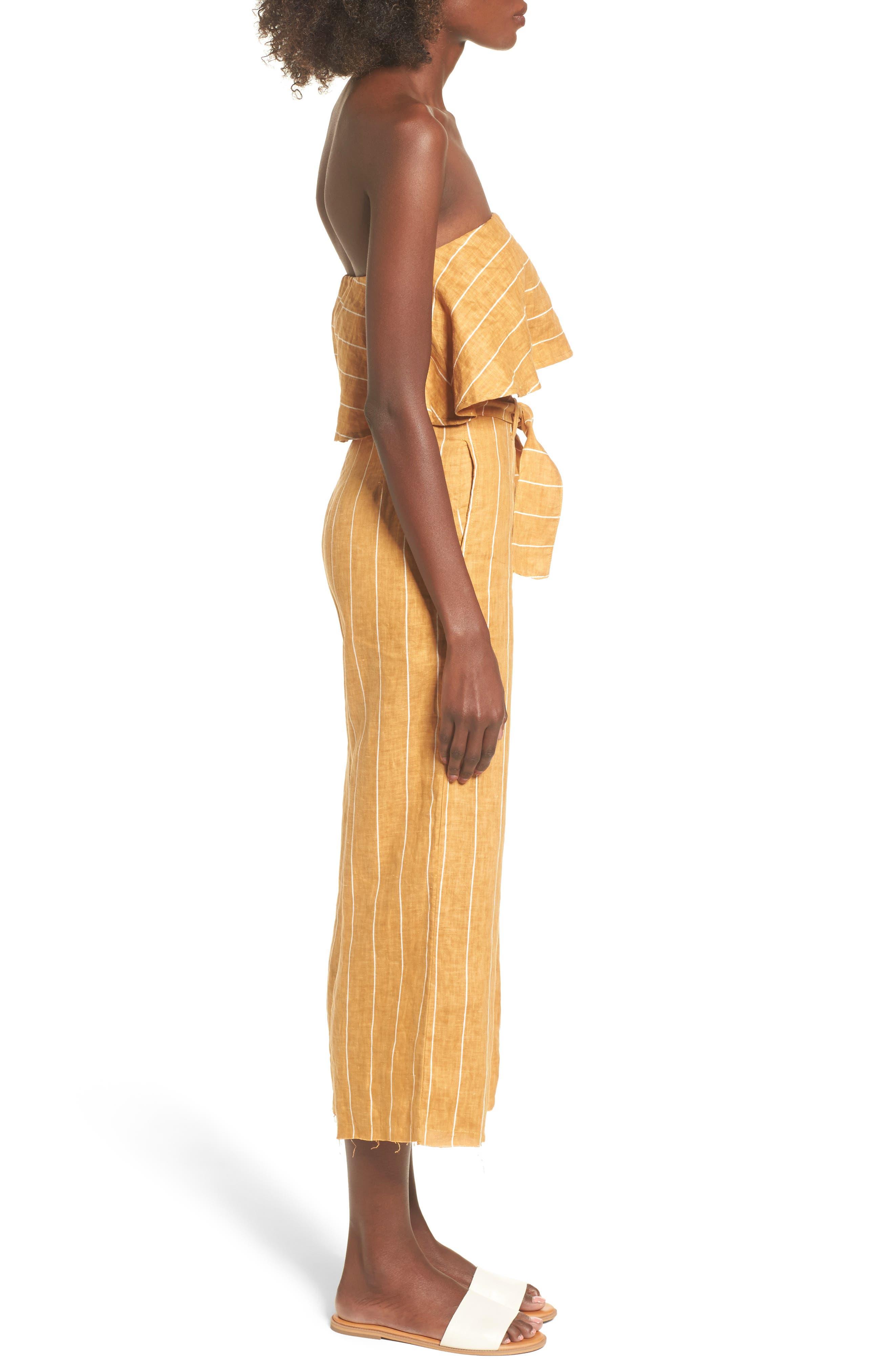 Solana Stripe Strapless Linen Crop Top,                             Alternate thumbnail 9, color,                             700