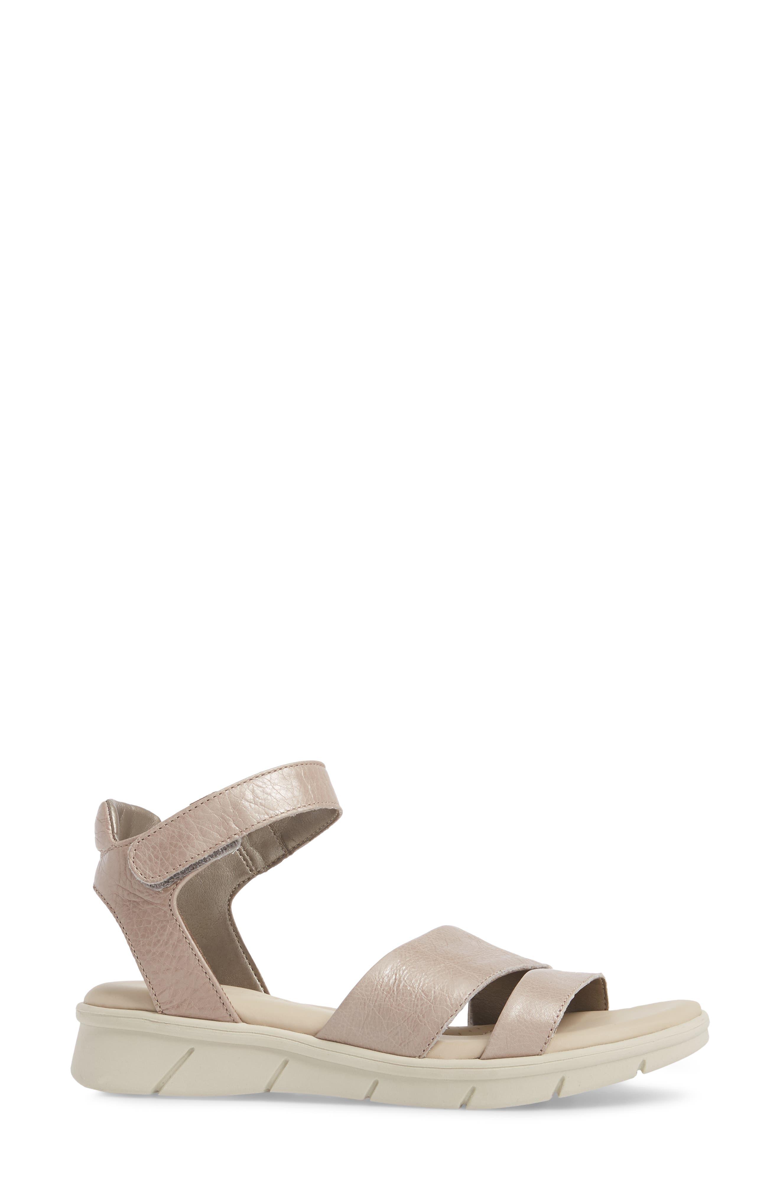 Crossover Ankle Strap Sandal,                             Alternate thumbnail 3, color,                             HAZE CRACKLED LEATHER