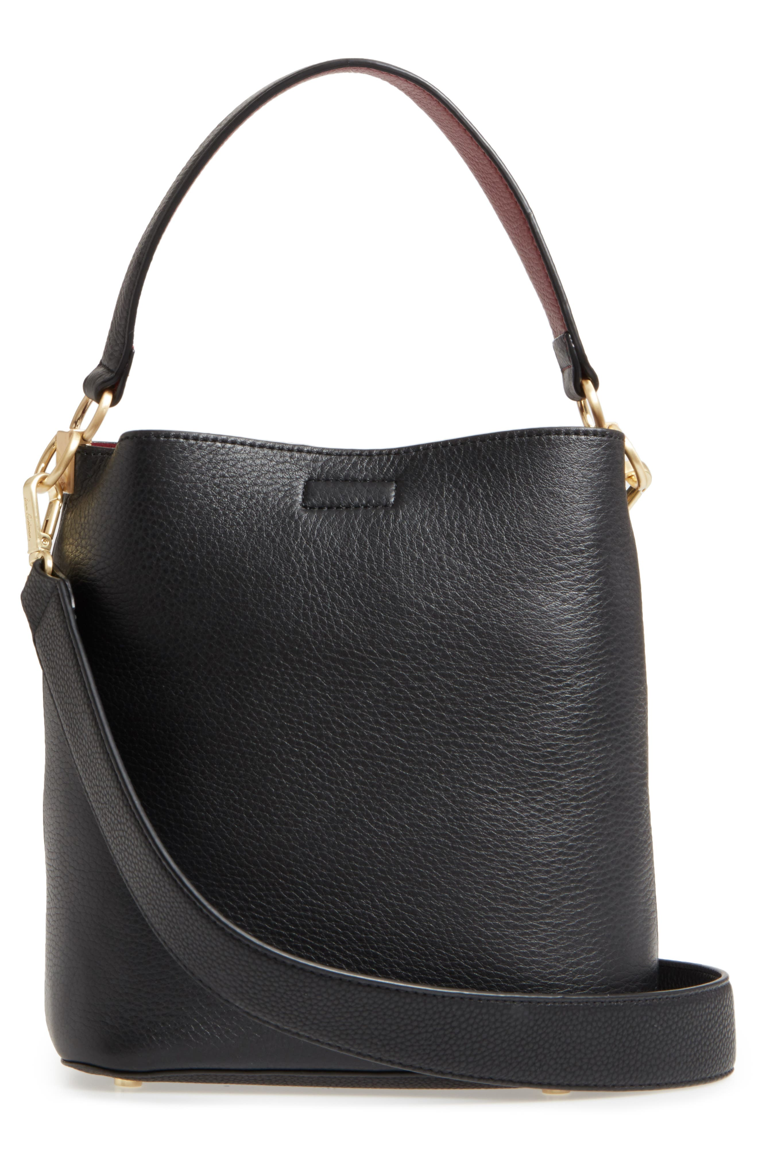 Small Nya Faux Leather Bucket Bag,                             Alternate thumbnail 3, color,                             001