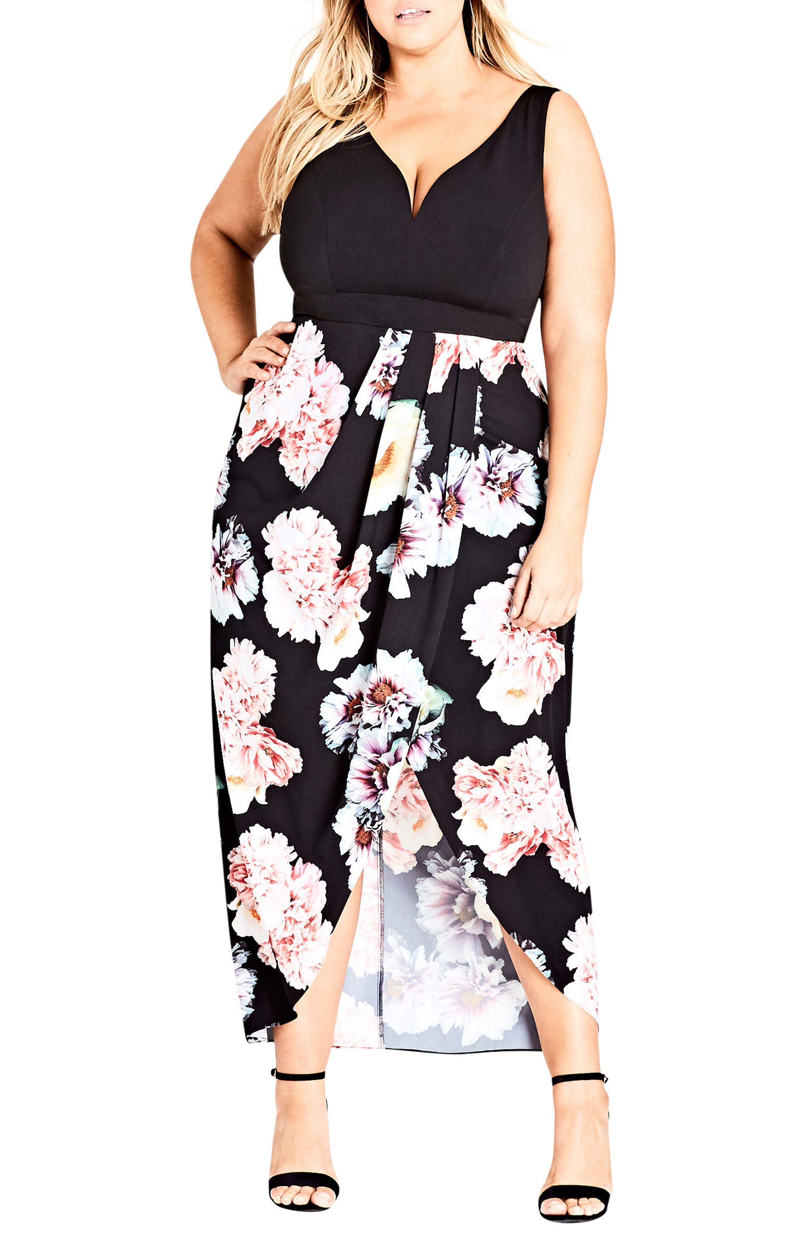 Plus Size City Chic Beautiful Lies Maxi Dress, Black