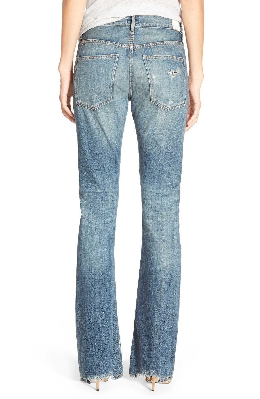 'Sasha' Destroyed Flare Jeans,                             Alternate thumbnail 4, color,                             400