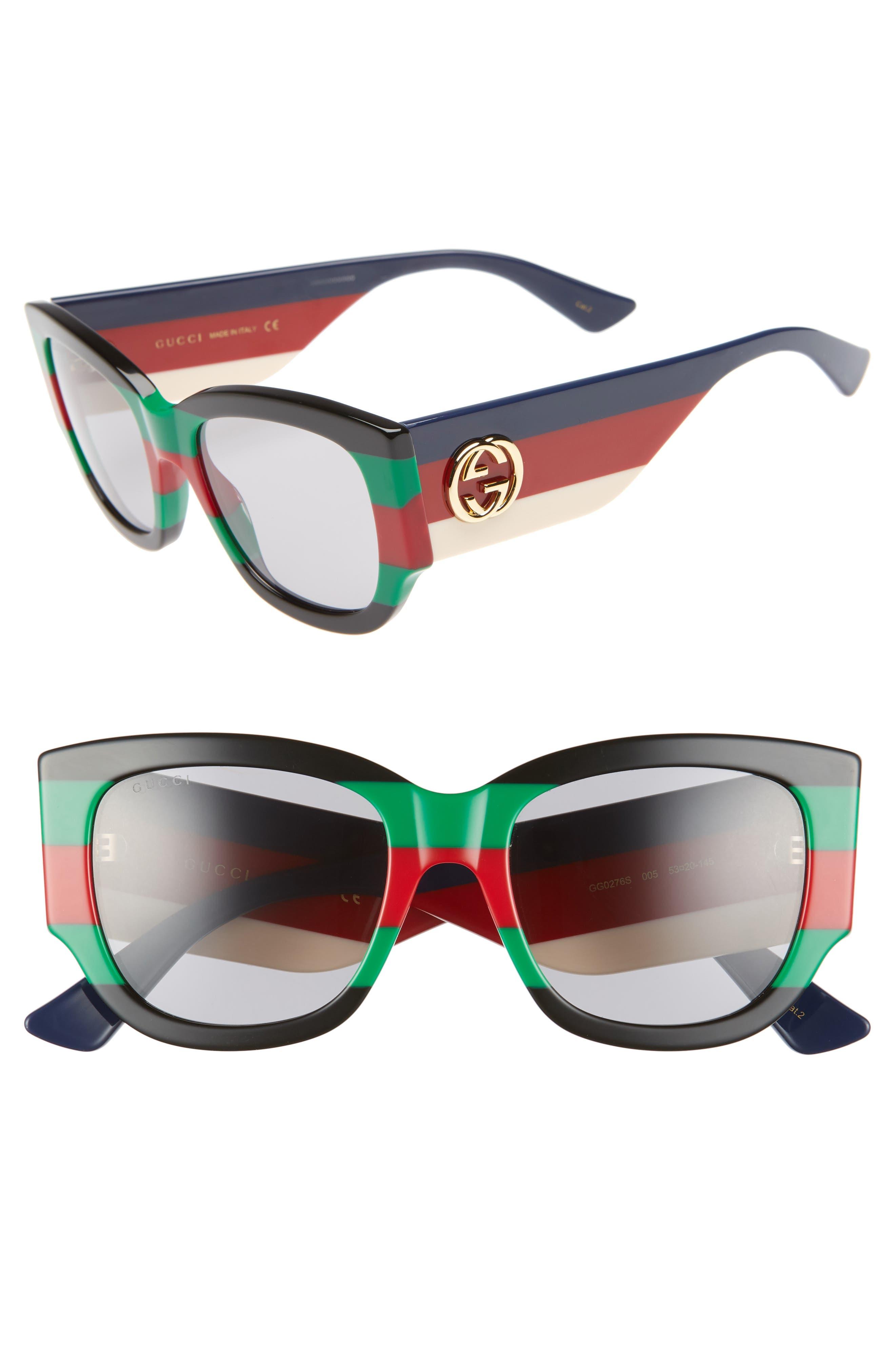 Rainbow Striped Oversized Rectangle Sunglasses in Black