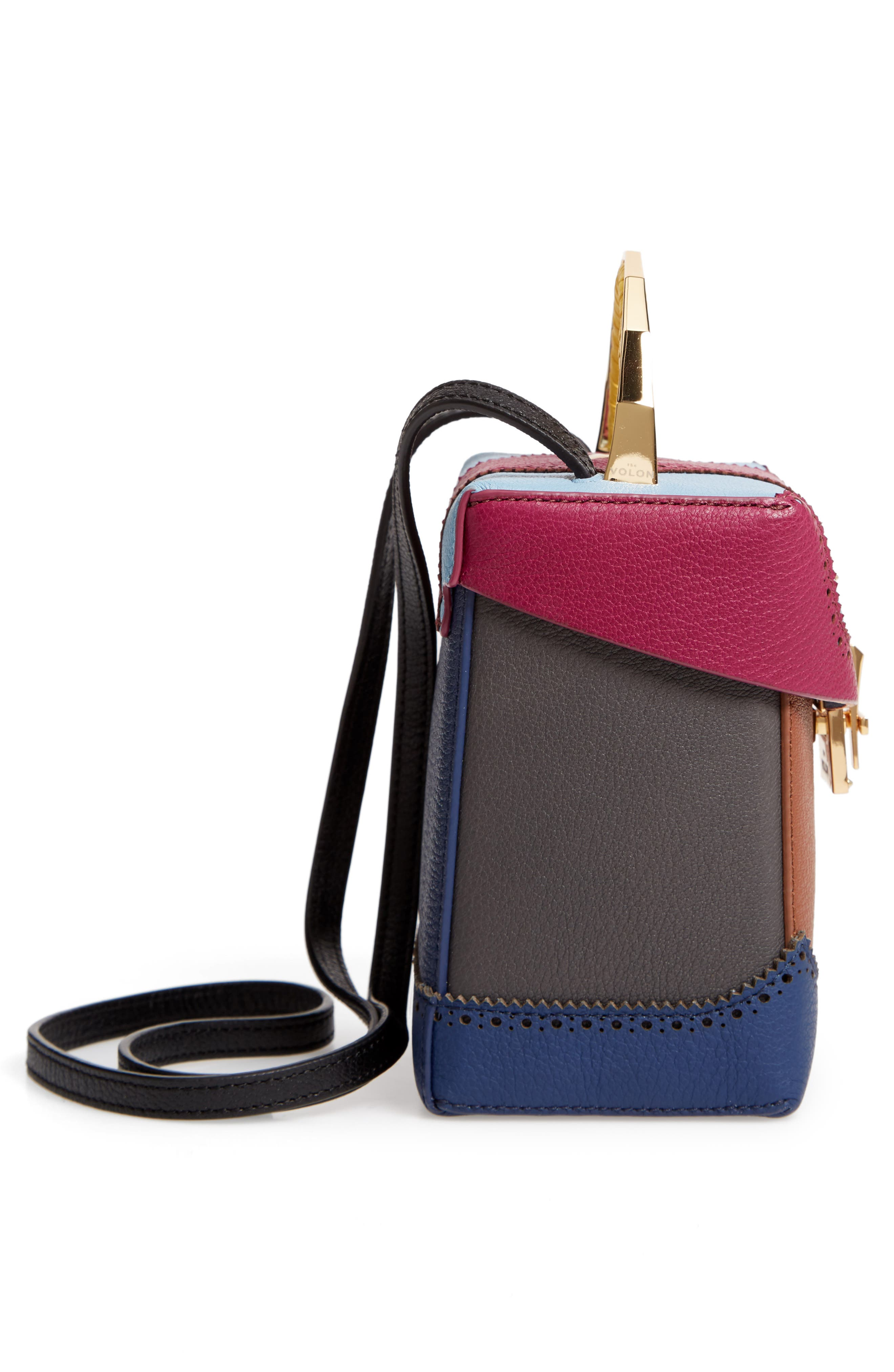 Great Alice Leather Box Bag,                             Alternate thumbnail 5, color,                             VIOLET/ SKY