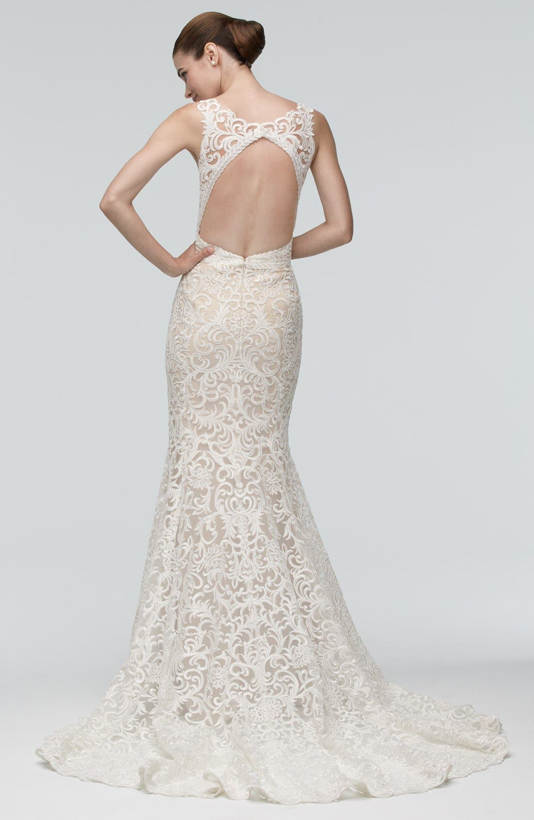 Georgia Back Cutout Lace Trumpet Gown,                             Alternate thumbnail 2, color,                             IVORY/NUDE