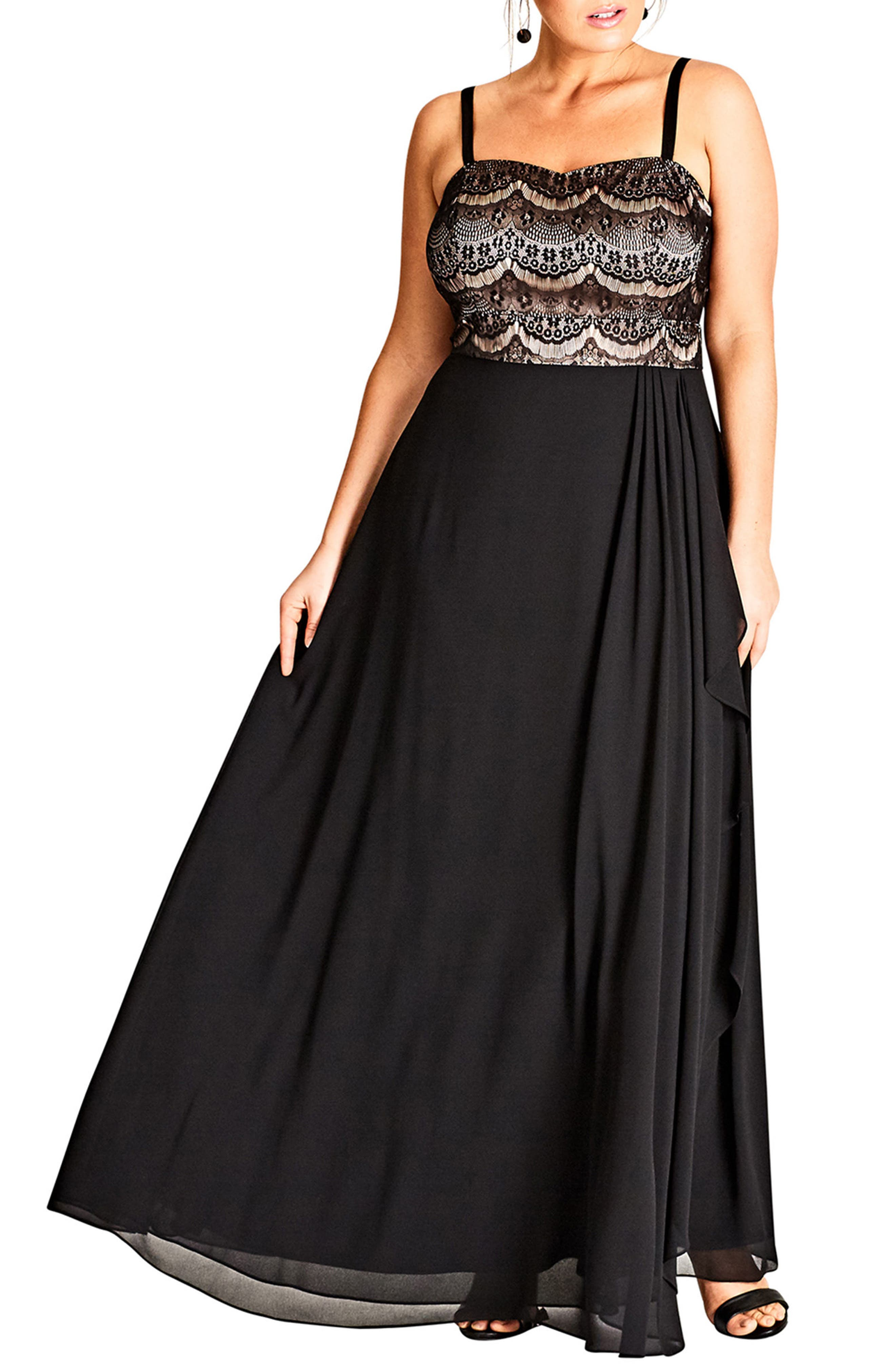 Eyelash Ebony Lace & Chiffon Gown,                             Main thumbnail 1, color,                             BLACK