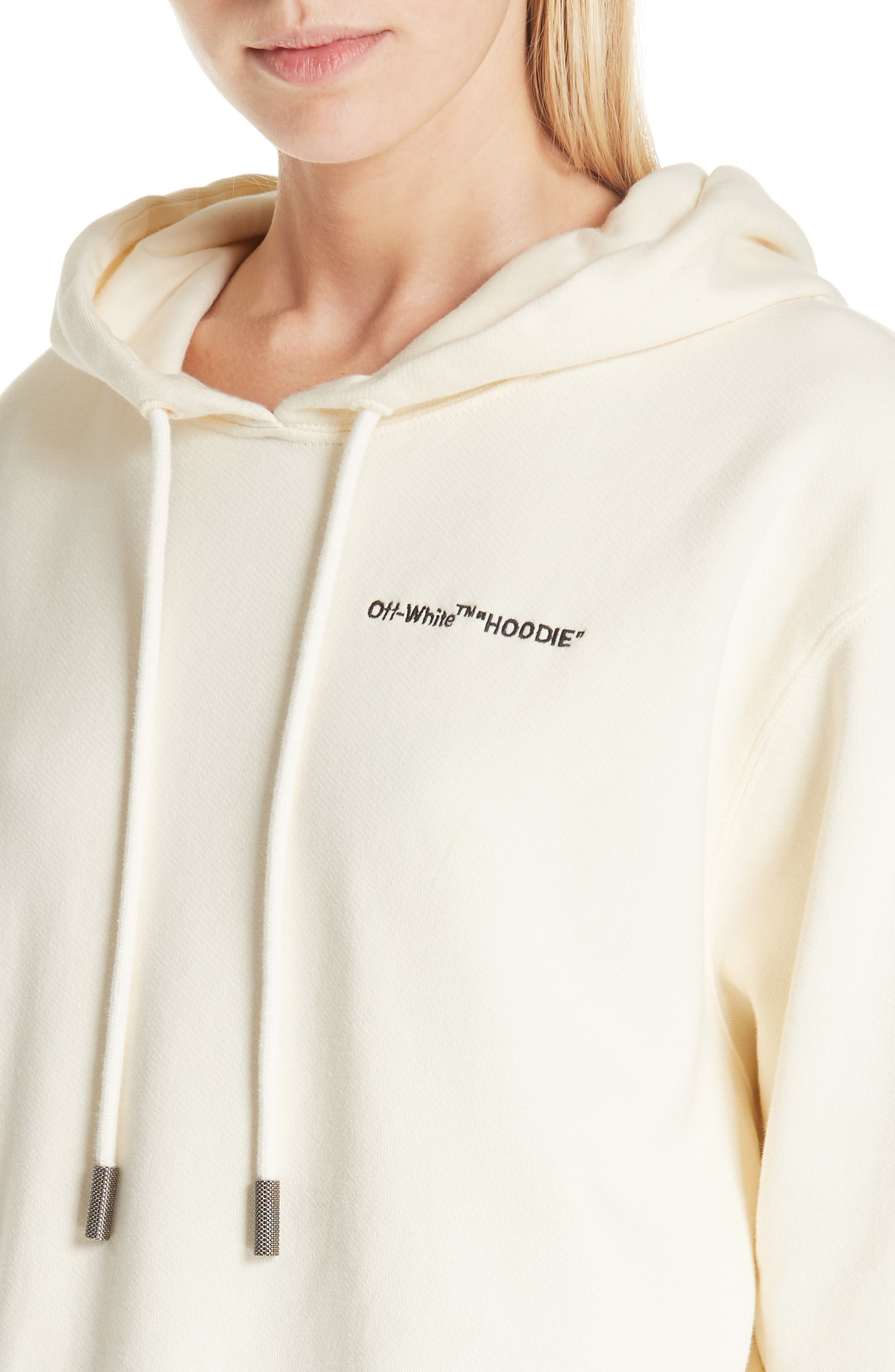 Quotes Crop Hoodie,                             Alternate thumbnail 4, color,                             WHITE BLACK